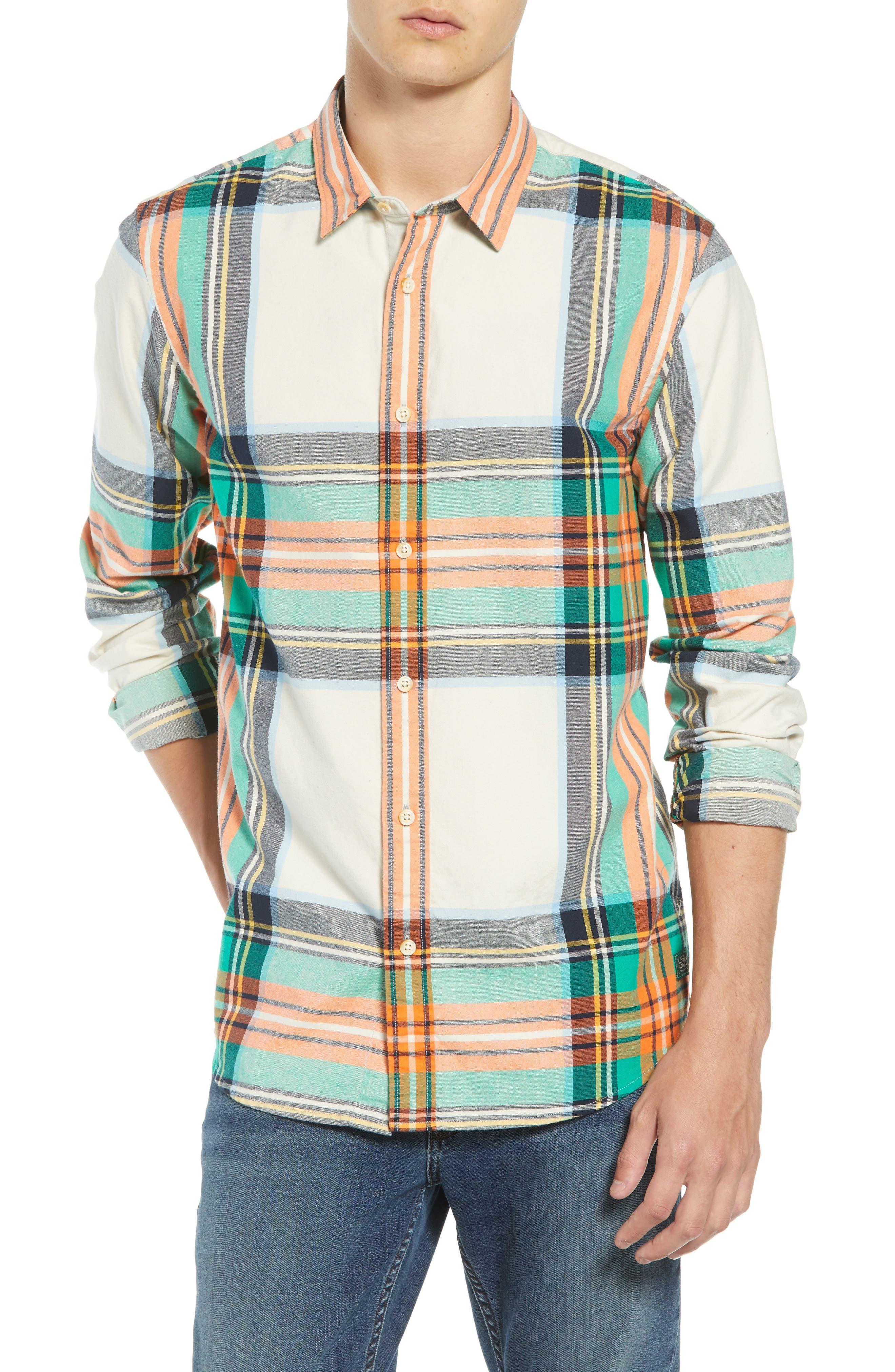 Scotch & Soda Plaid Flannel Shirt, Beige