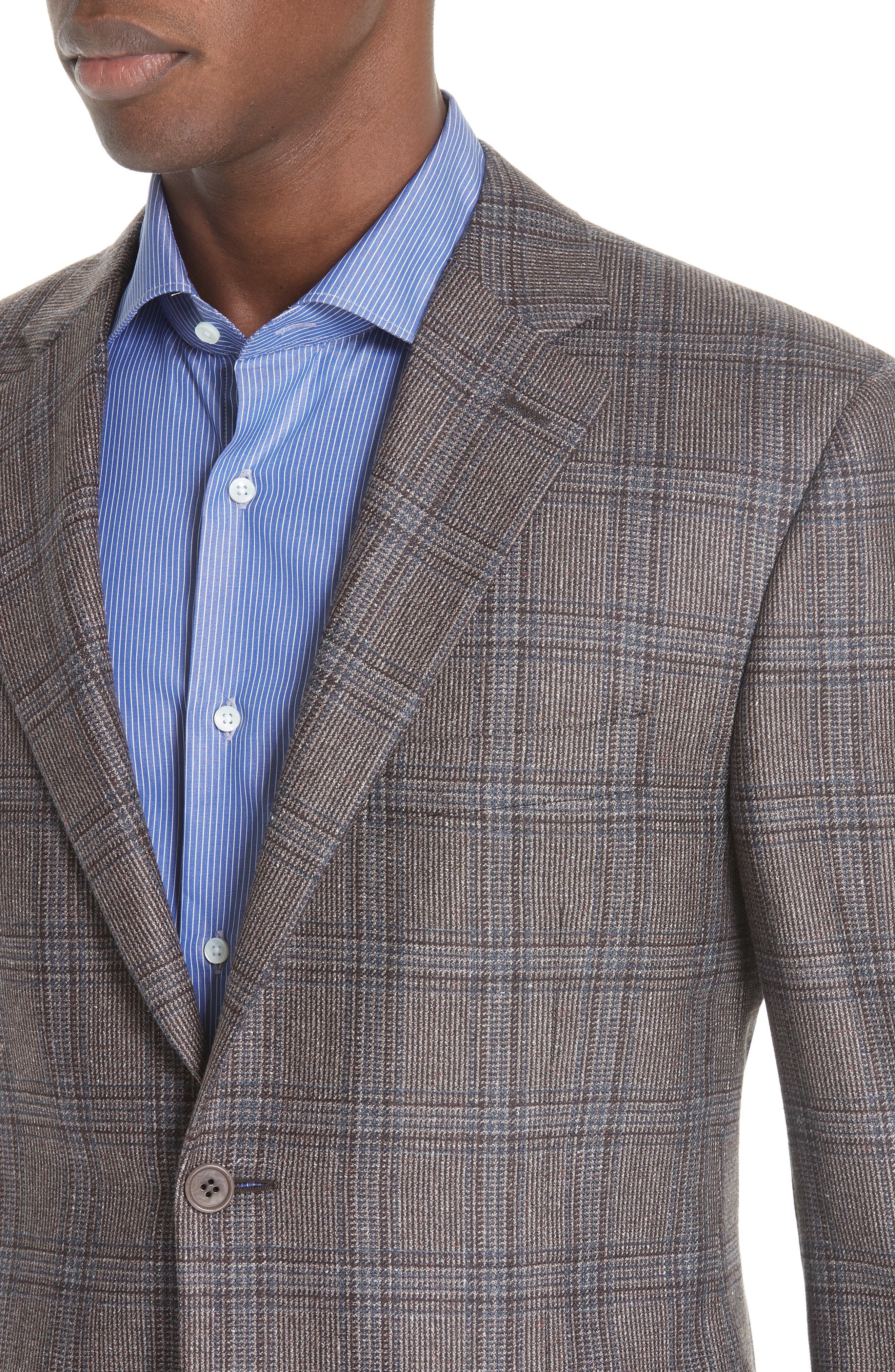 Classic Fit Plaid Silk & Wool Sport Coat,                             Alternate thumbnail 4, color,                             MED BROWN