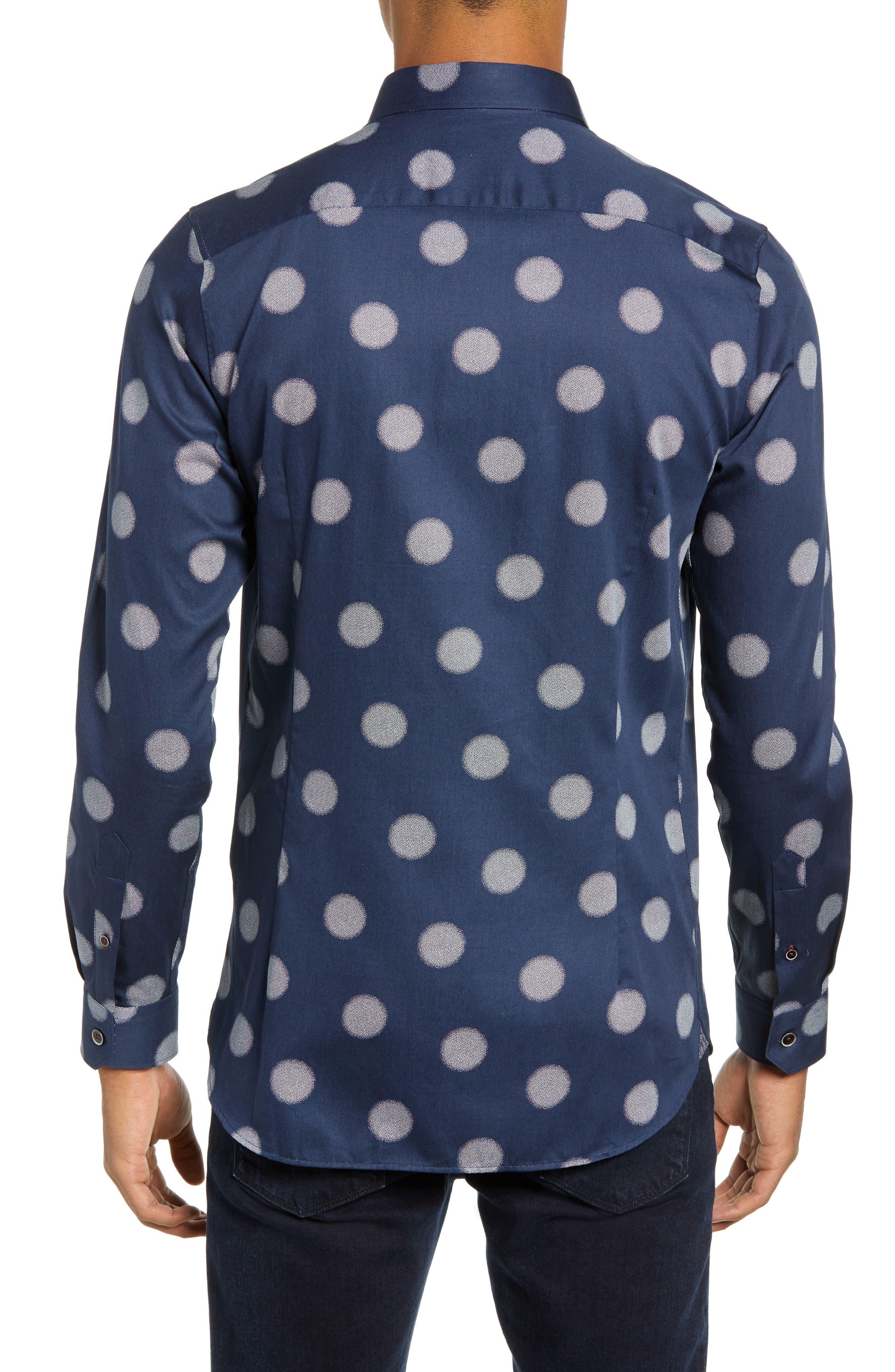 Cerious Slim Fit Circle Dot Sport Shirt,                             Alternate thumbnail 3, color,                             NAVY