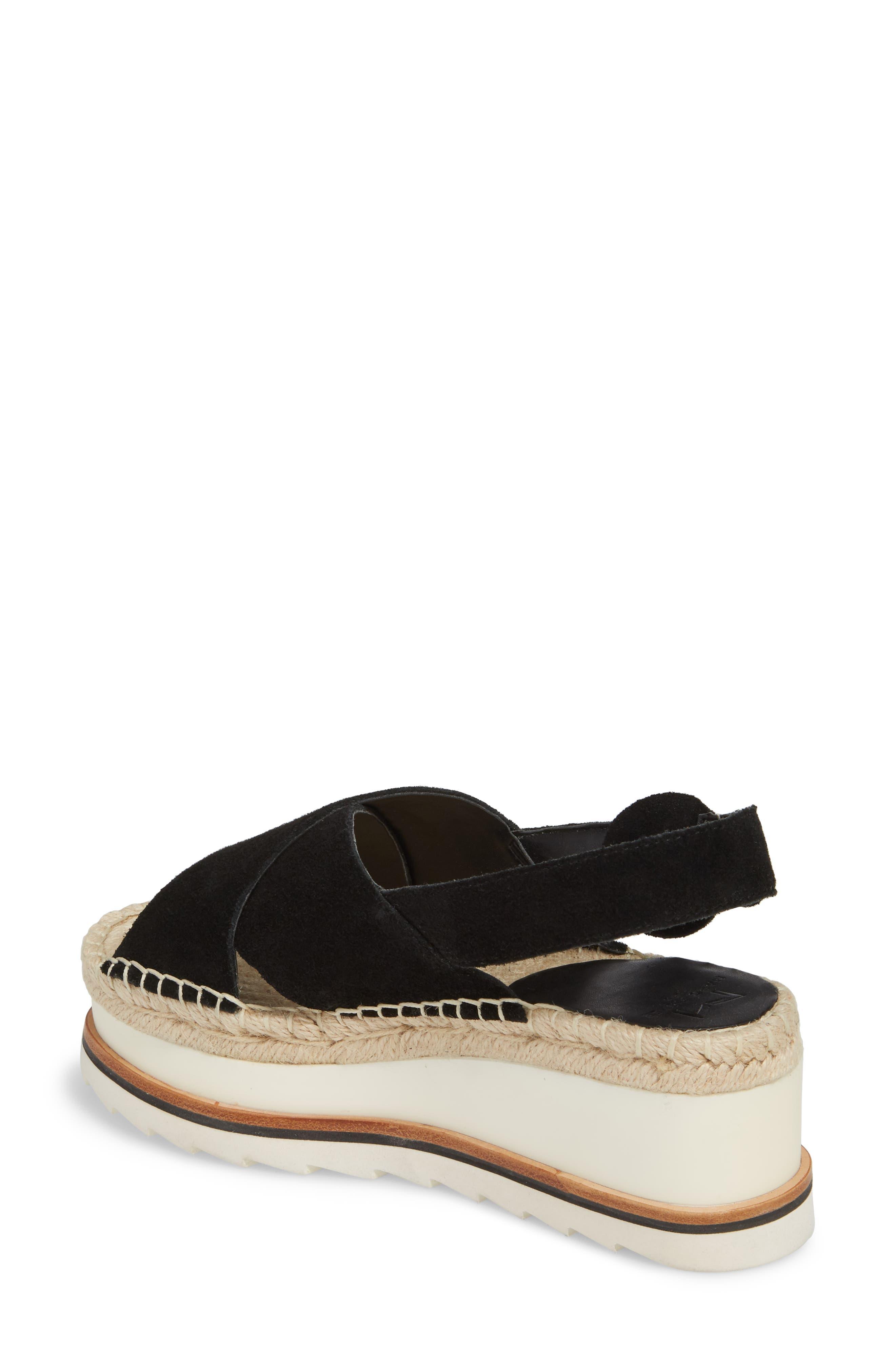 Glenna Platform Slingback Sandal,                             Alternate thumbnail 2, color,                             BLACK SUEDE