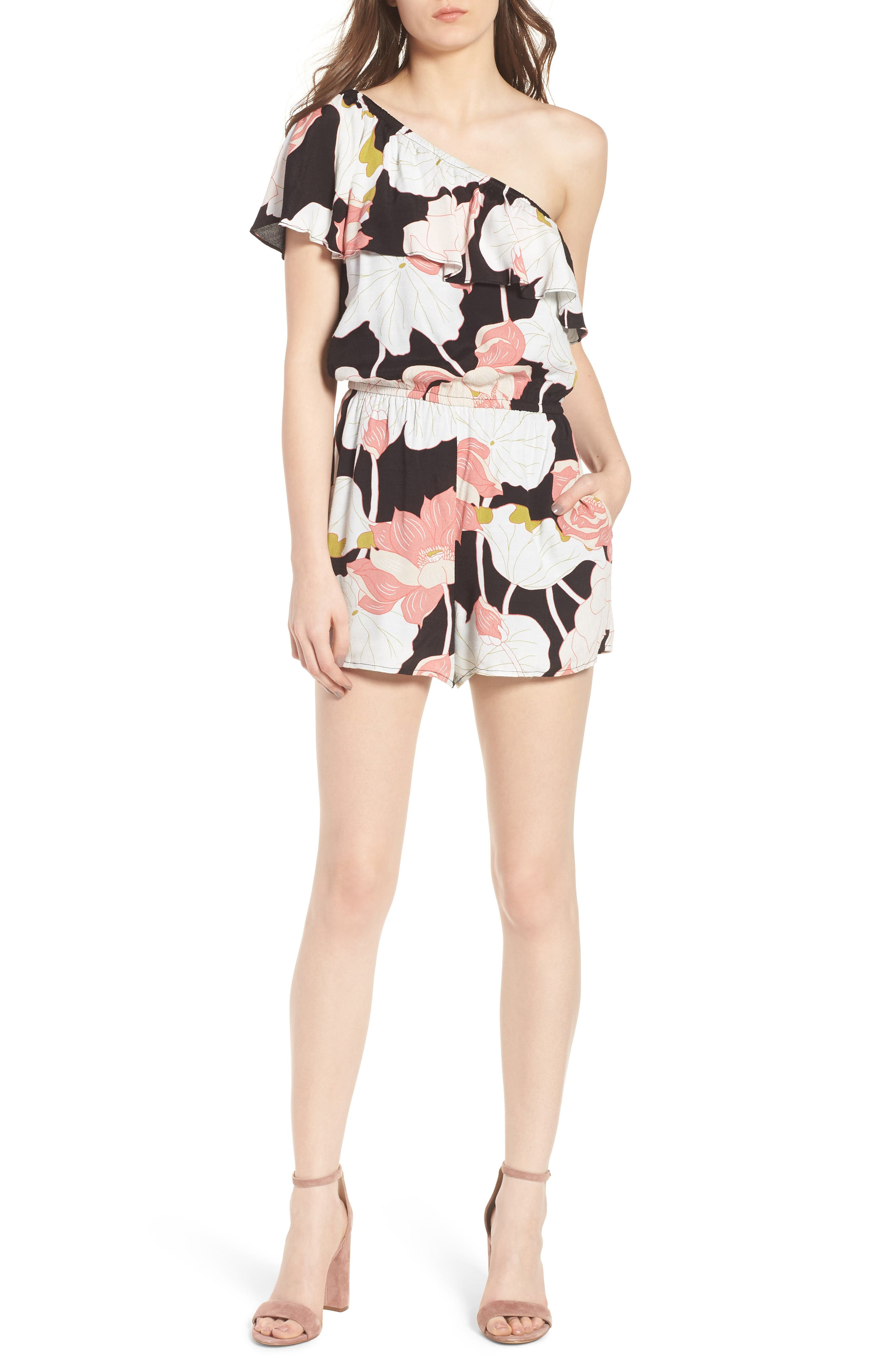 Arnett Water Lilies One-Shoulder Romper,                             Main thumbnail 1, color,                             001