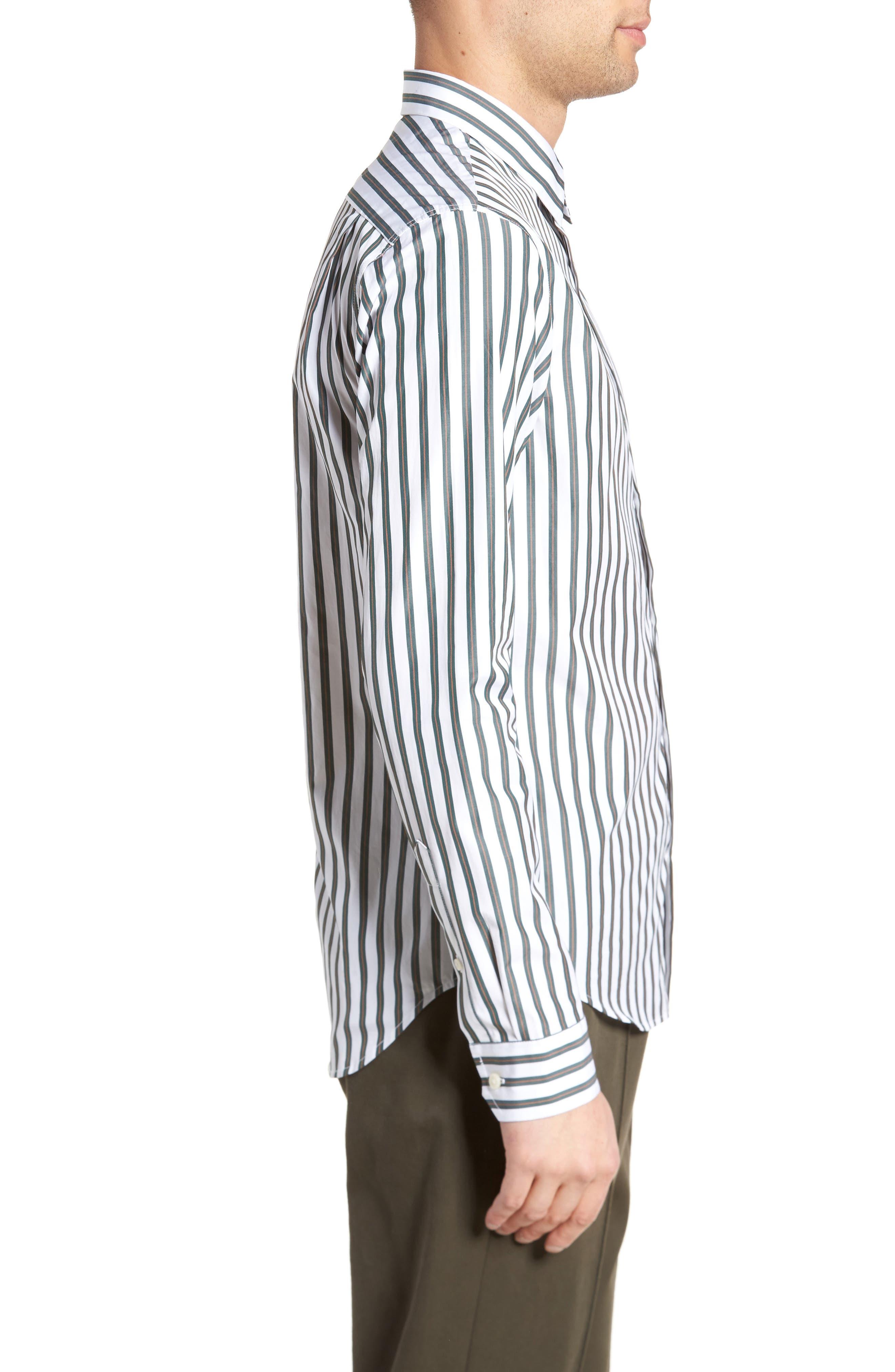 Stripe Sport Shirt,                             Alternate thumbnail 3, color,                             100