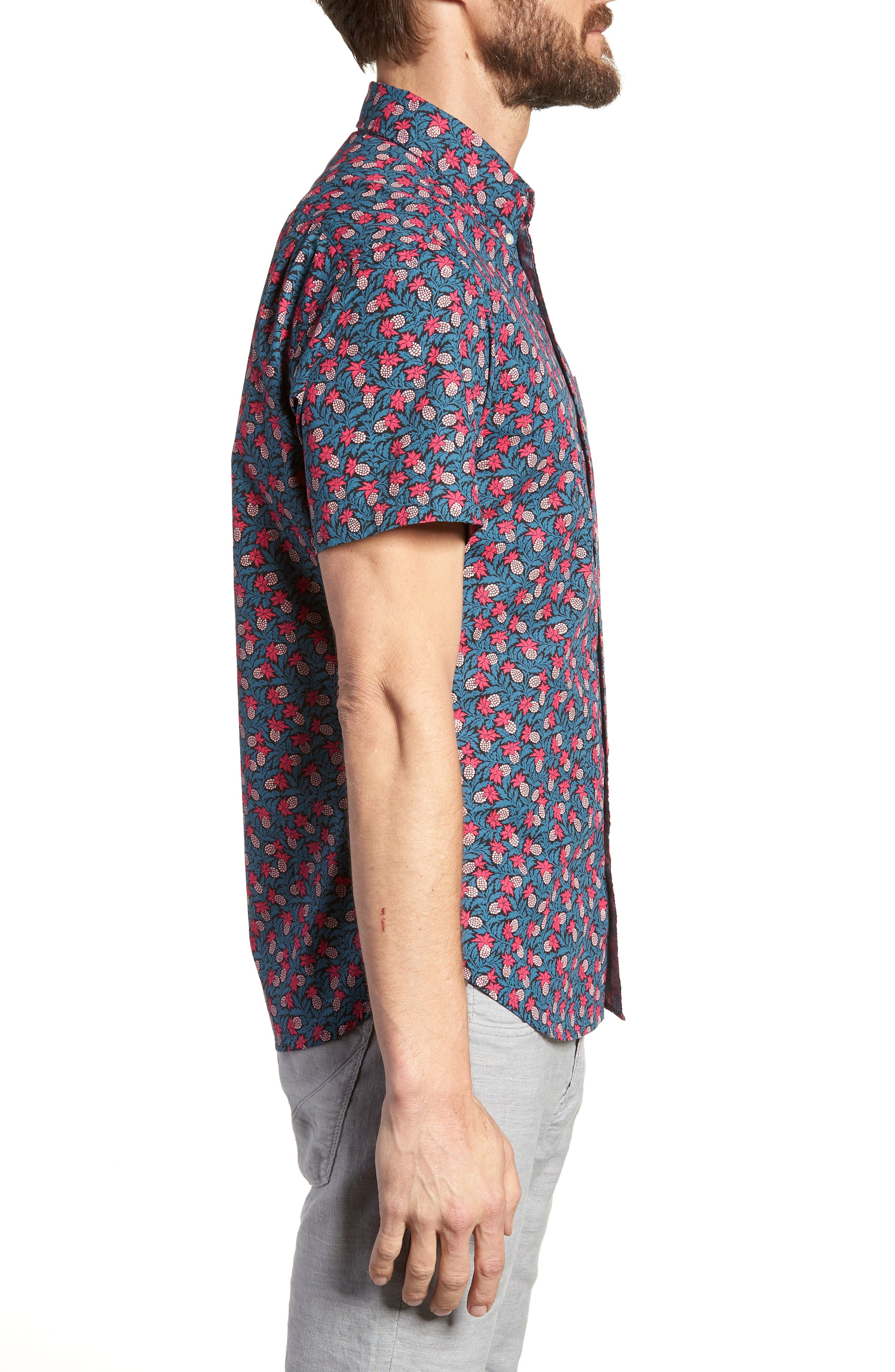 Slim Fit Short Sleeve Print Sport Shirt,                             Alternate thumbnail 3, color,                             400