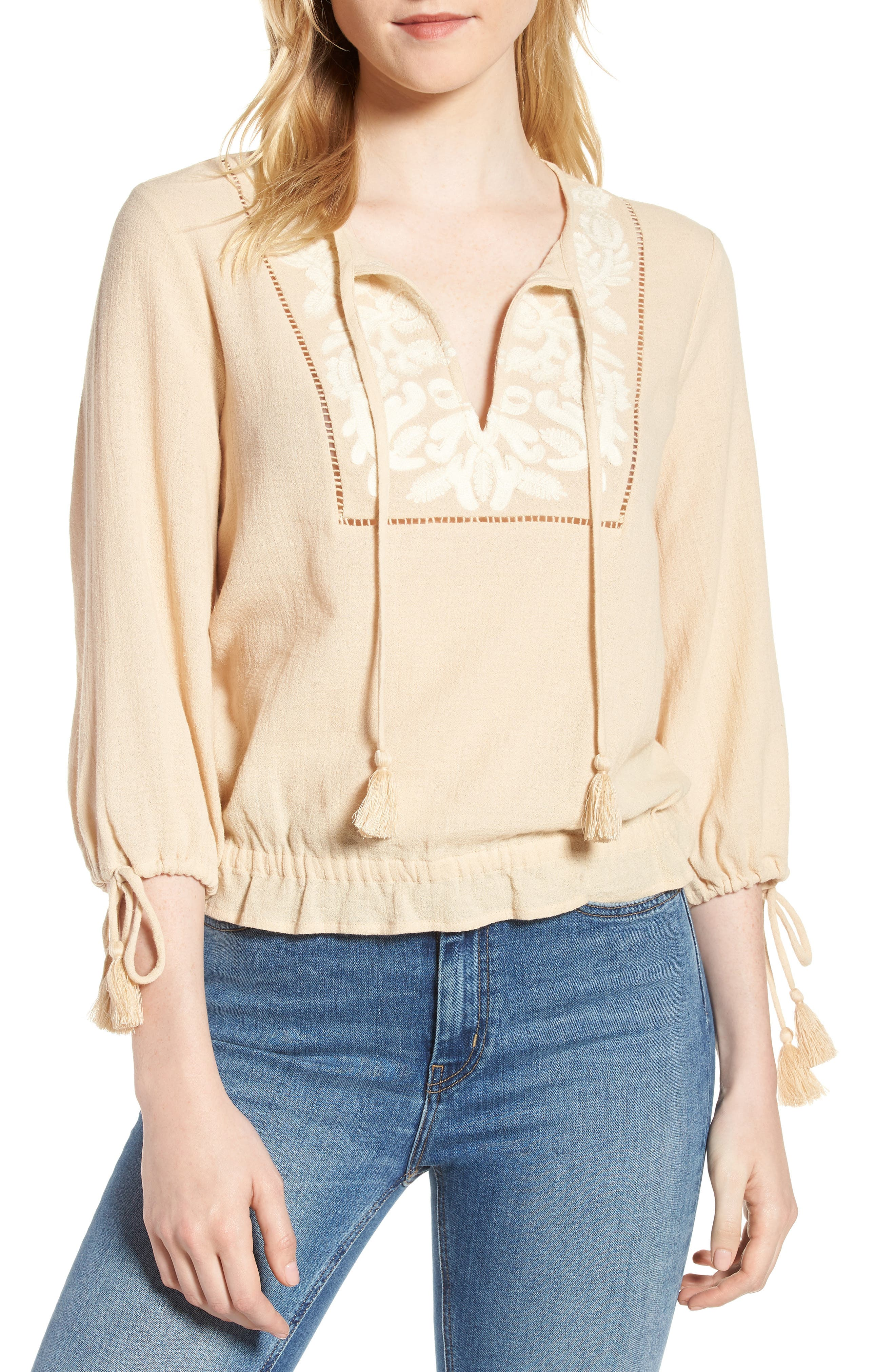 Embroidered Cotton Tassel Top,                         Main,                         color,