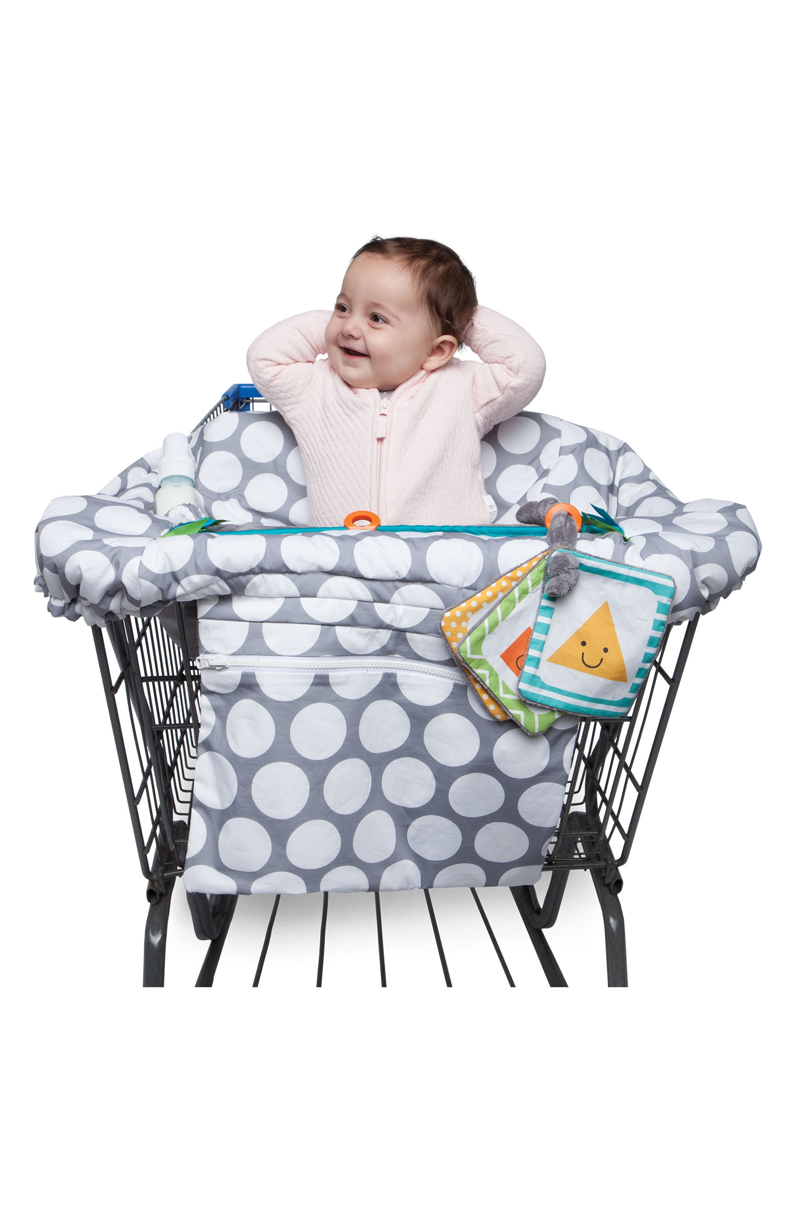 Luxe Shopping Cart Cover,                             Alternate thumbnail 8, color,                             JUMBO DOTS GRAY