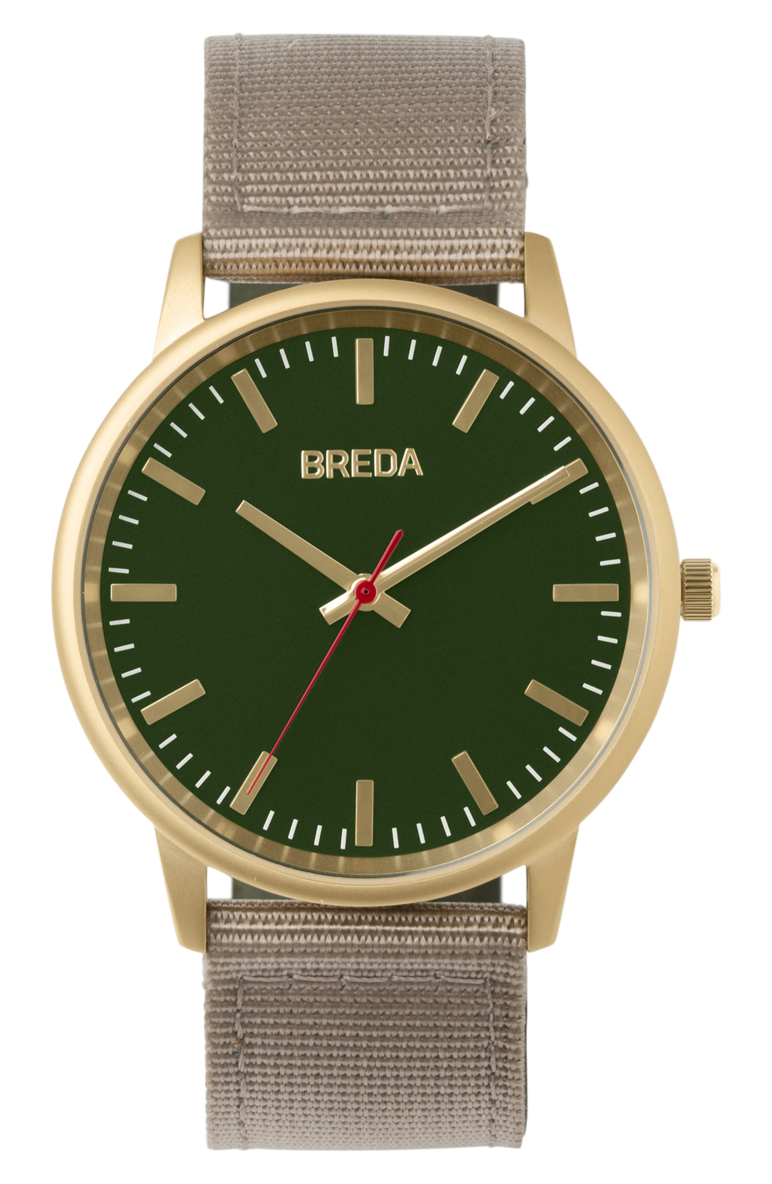Valor Nylon Strap Watch, 39mm, Main, color, BEIGE/ GREEN/ GOLD