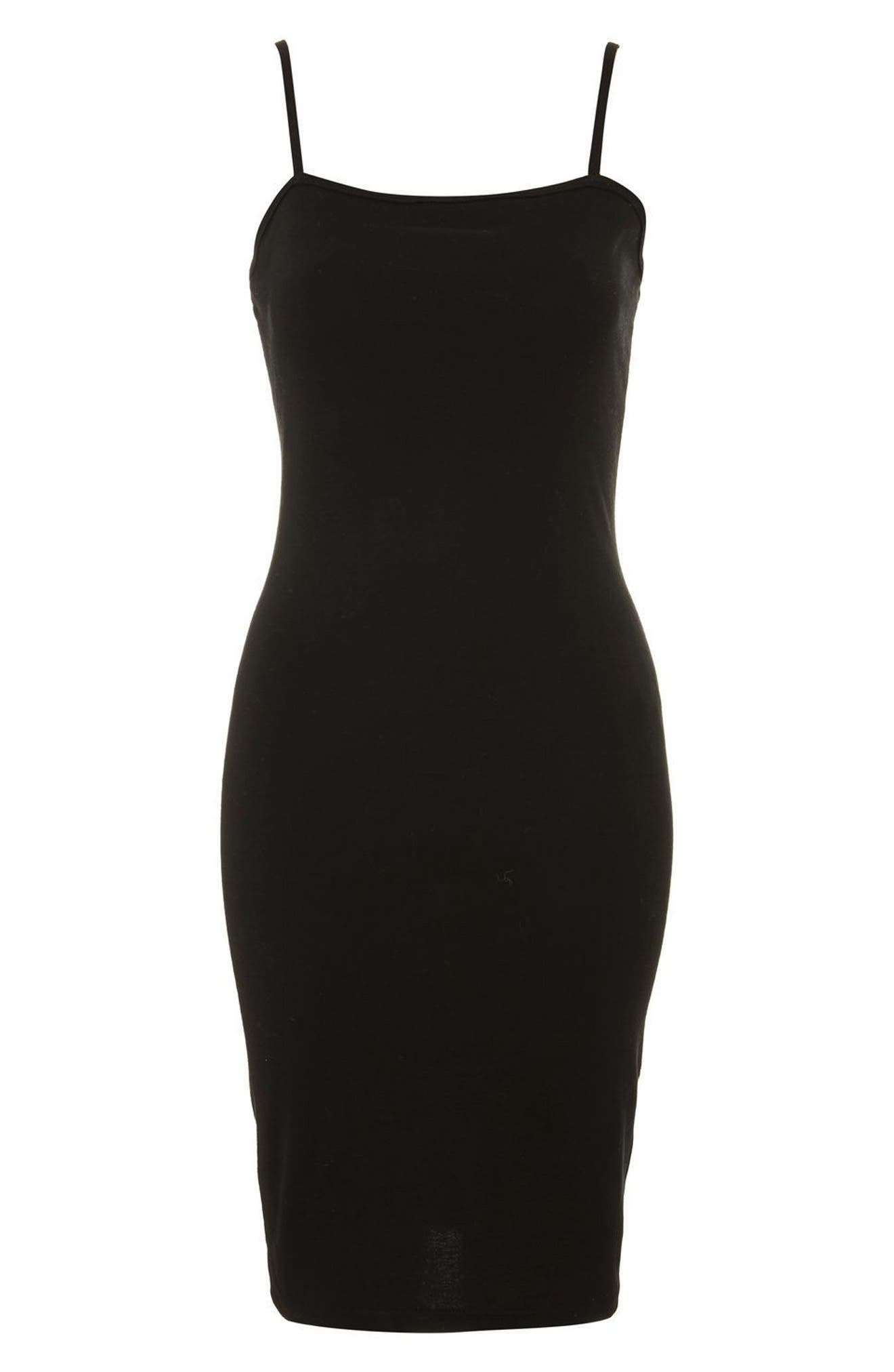 Body-Con Midi Dress,                             Alternate thumbnail 4, color,                             BLACK
