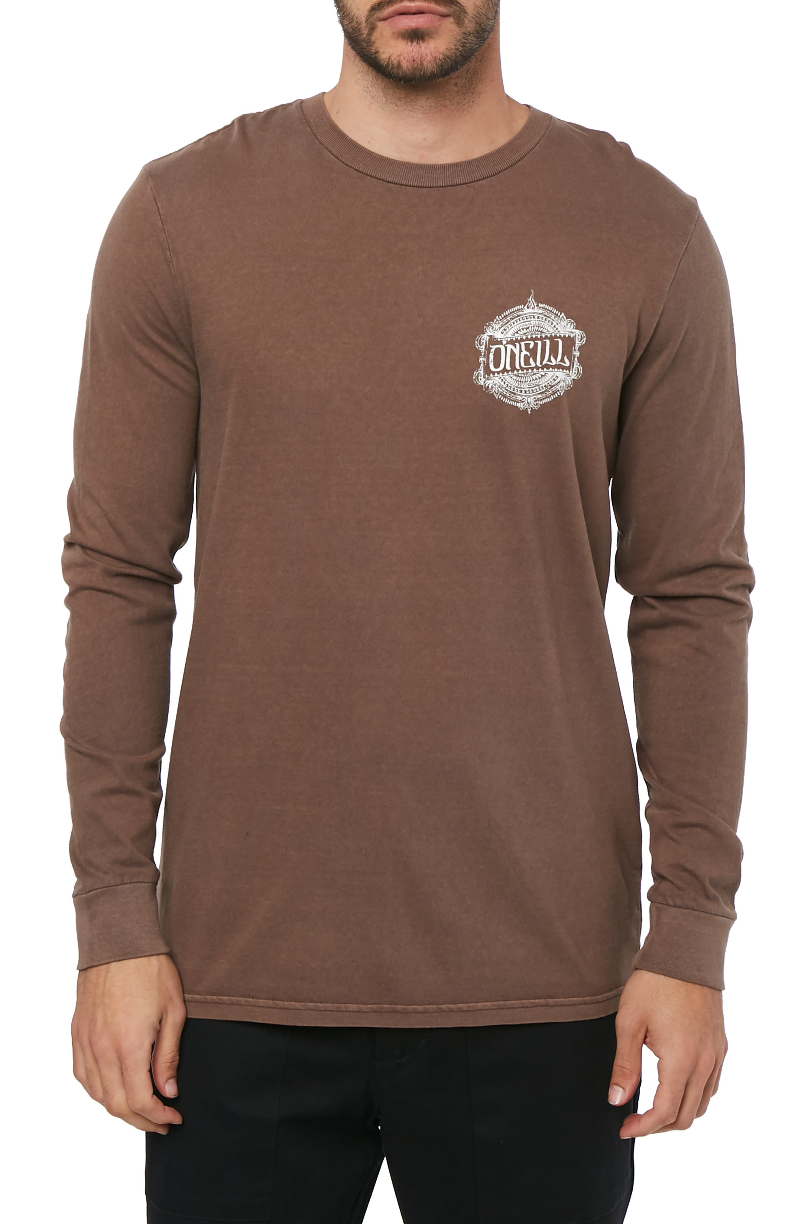 Bali Graphic Long Sleeve T-Shirt,                         Main,                         color, COFFEE