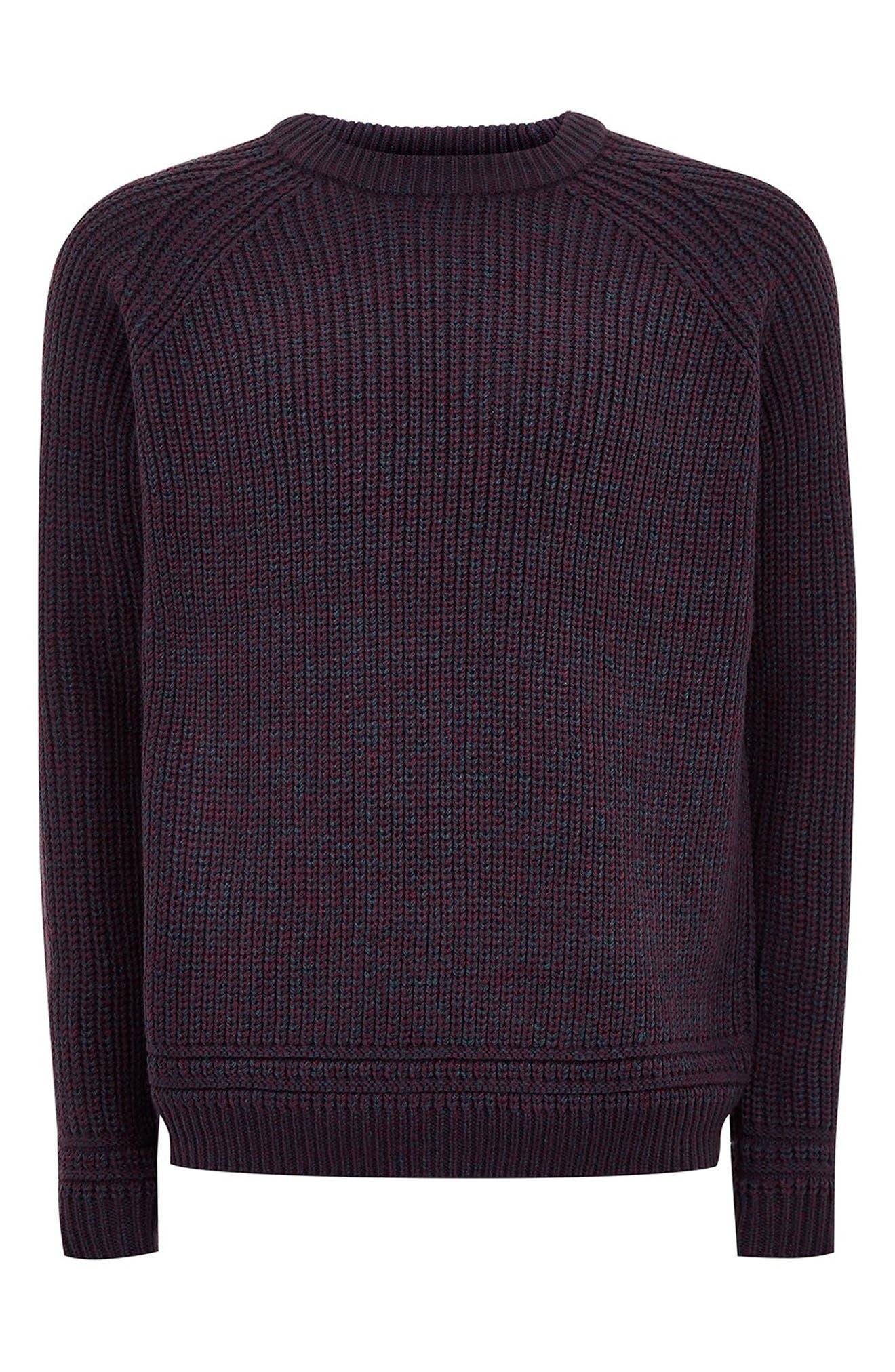 Crewneck Sweater,                             Alternate thumbnail 4, color,                             BURGUNDY MULTI