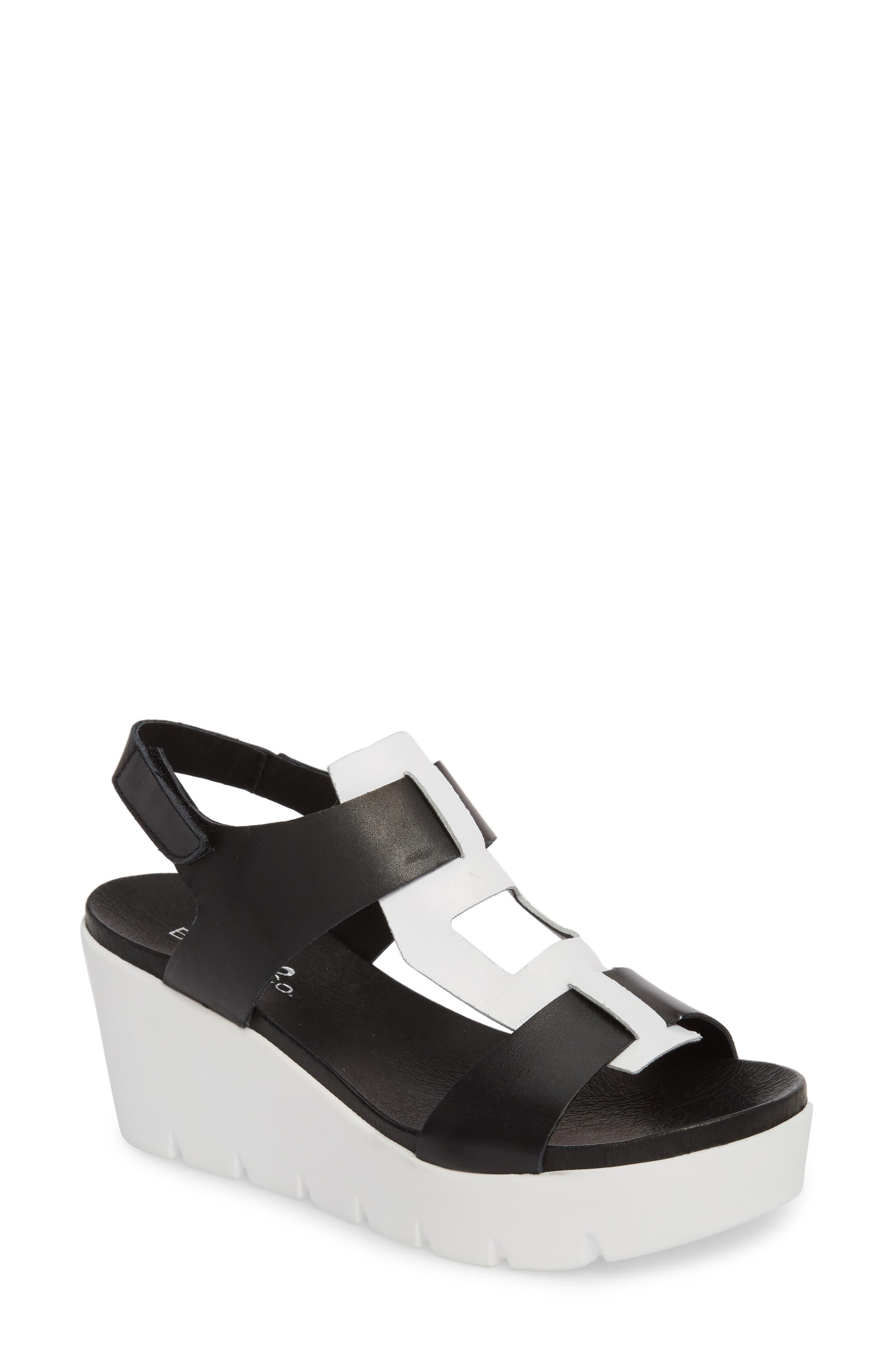 Somo Platform Wedge Sandal,                         Main,                         color, BLACK/ WHITE SMOOTH LEATHER