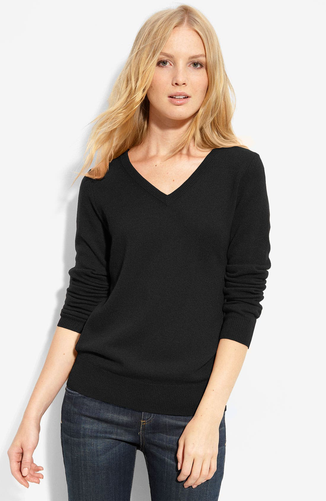 ONLY MINE,                             V-Neck Cashmere Sweater,                             Main thumbnail 1, color,                             001
