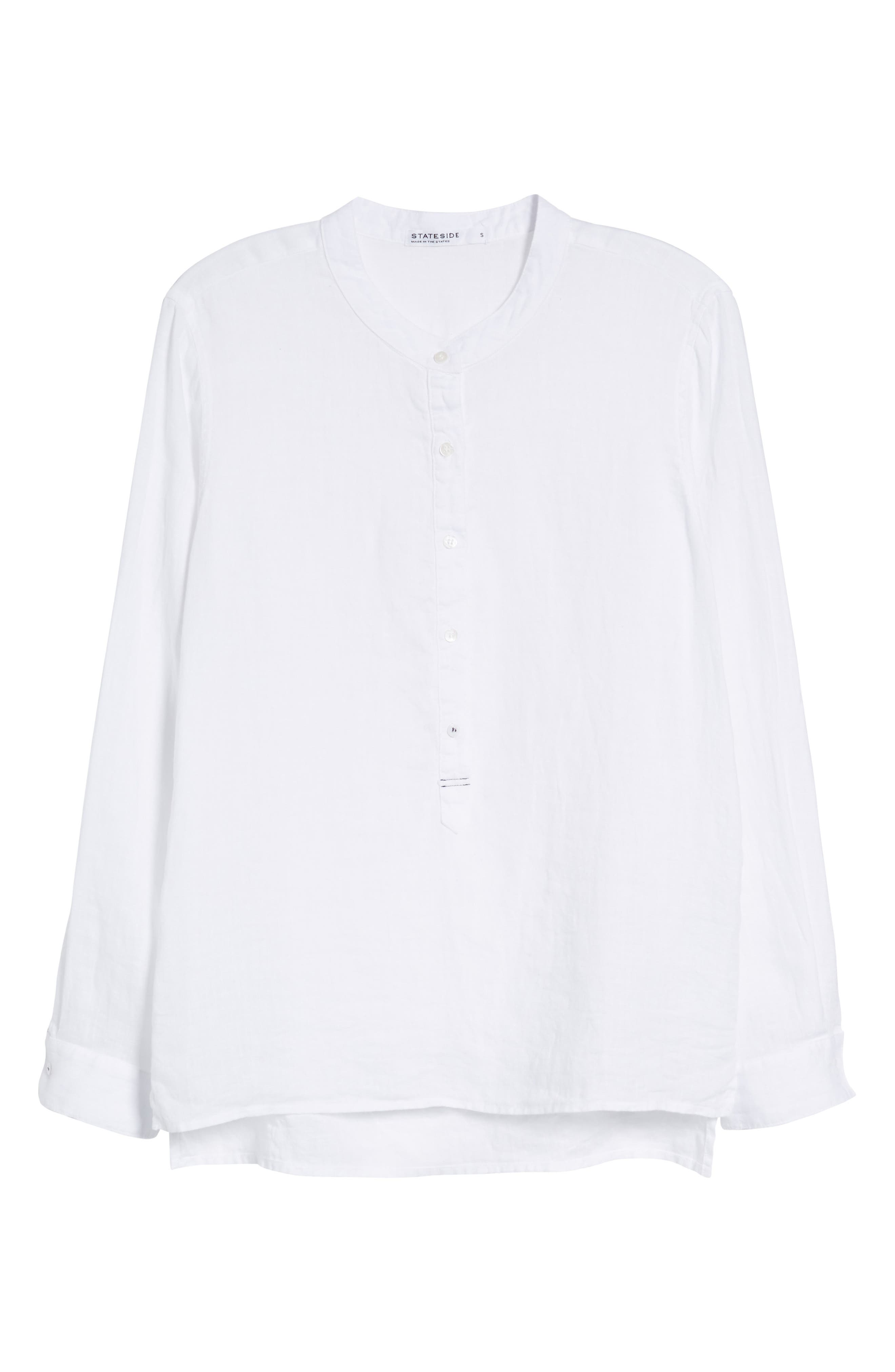 Linen Henley Shirt,                             Alternate thumbnail 7, color,                             100