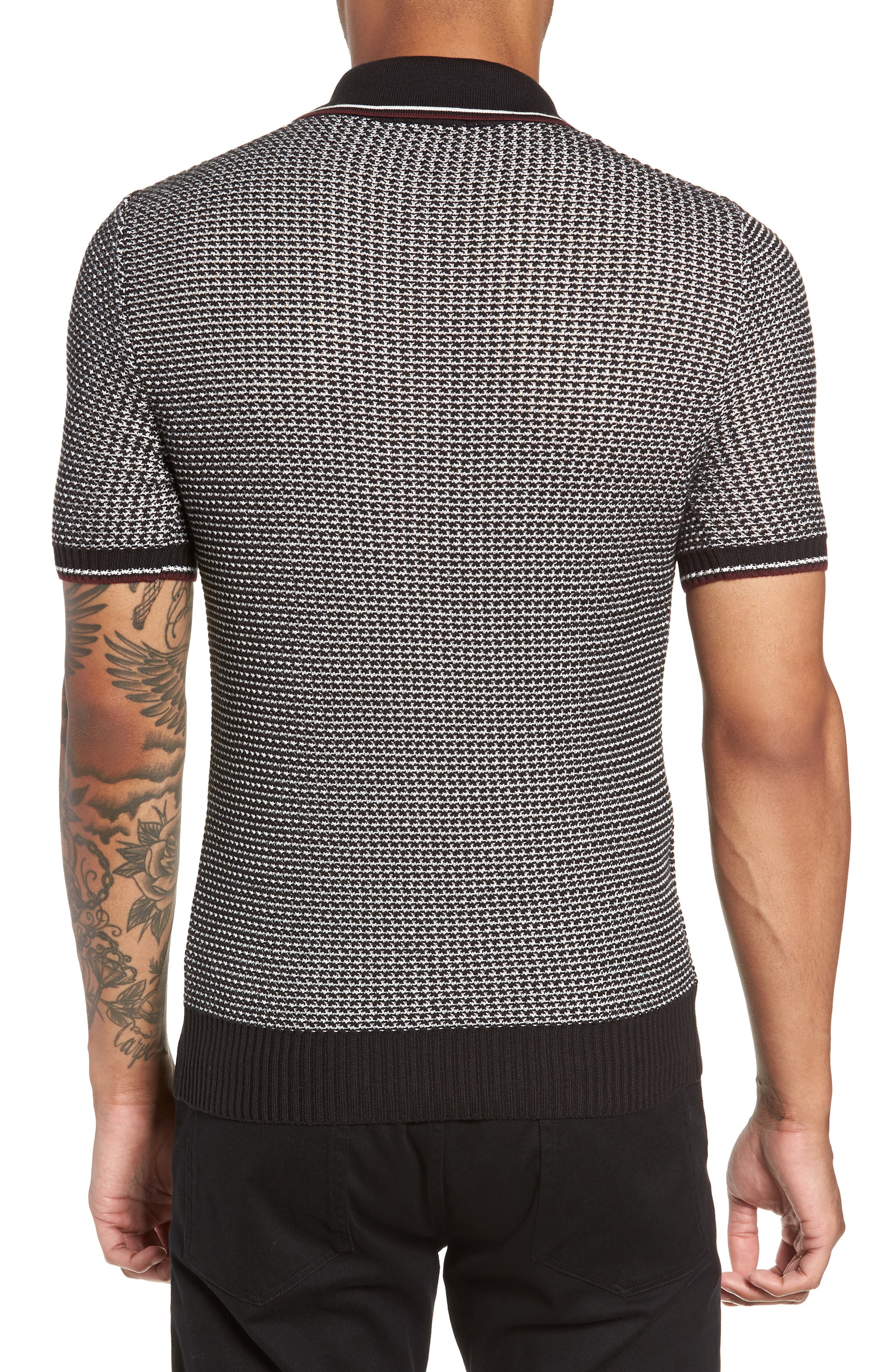 Tipped Houndstooth Polo,                             Alternate thumbnail 2, color,                             001