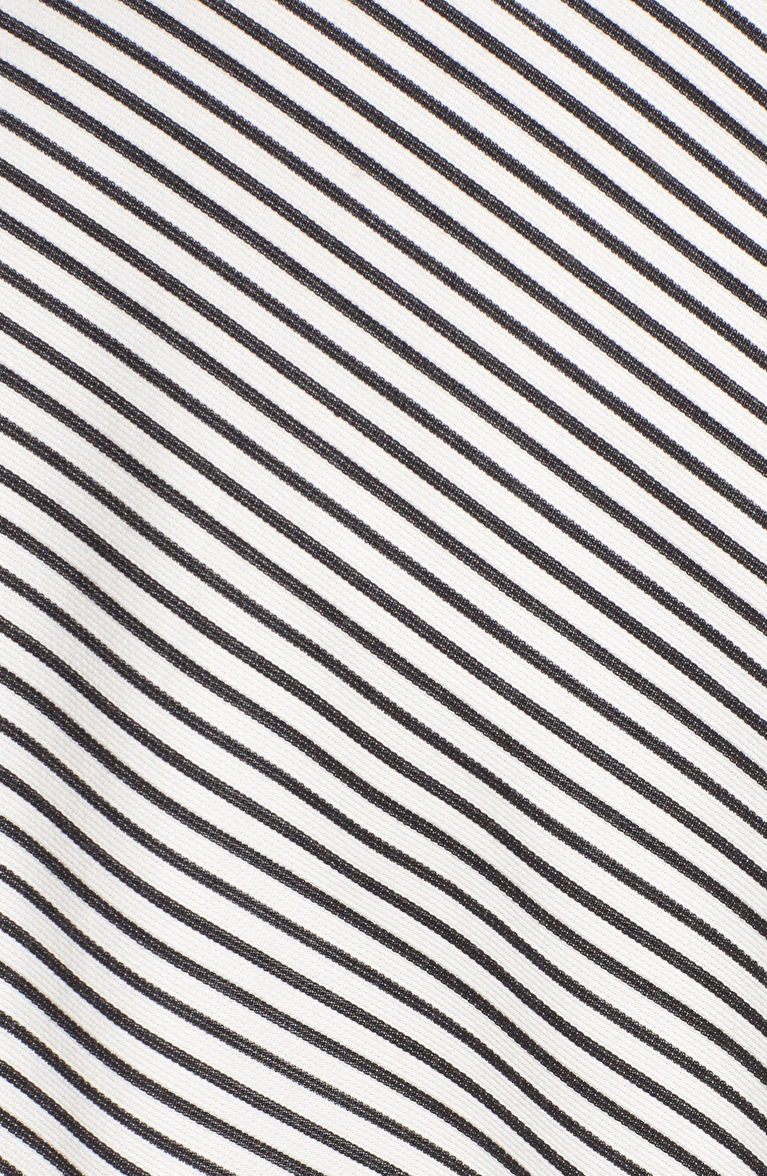 Stripe Pleat Shirt,                             Alternate thumbnail 6, color,                             BLACK/ WHITE PIN STRIPE