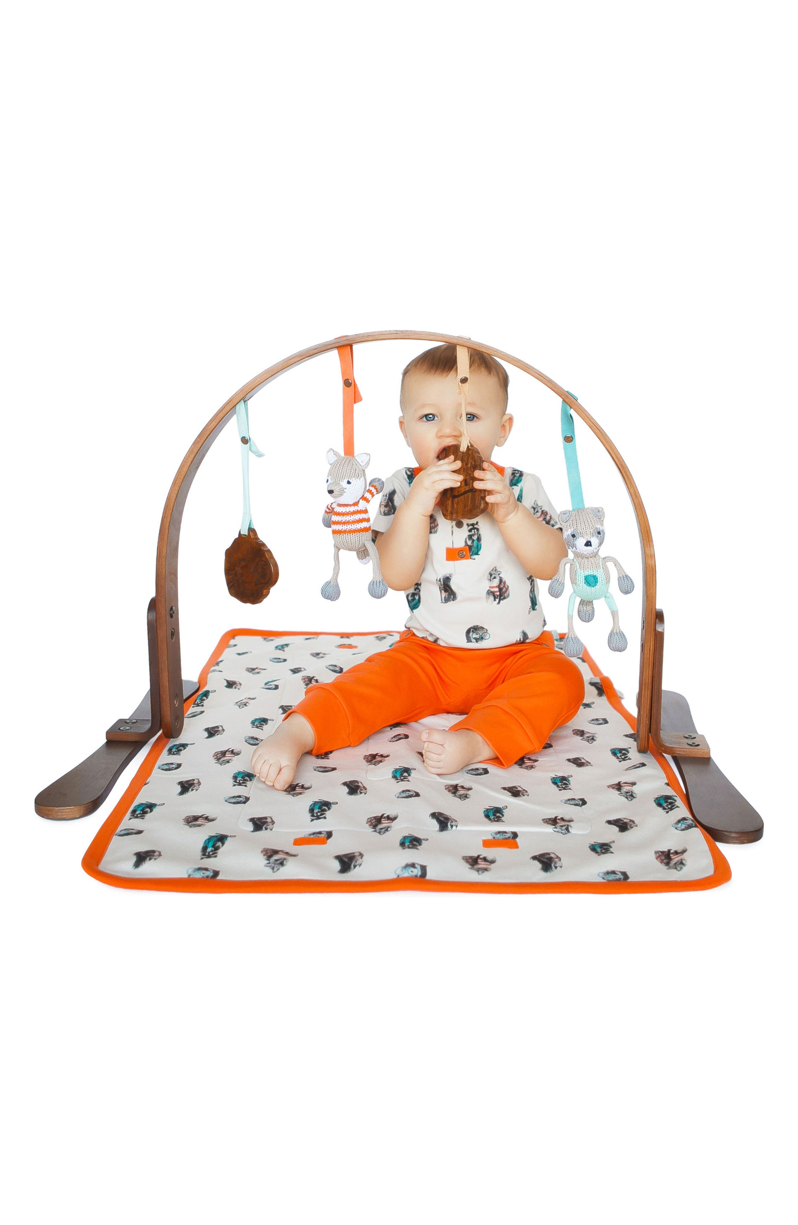 Wooden Play Gym & Woodland Mat,                             Alternate thumbnail 3, color,                             205