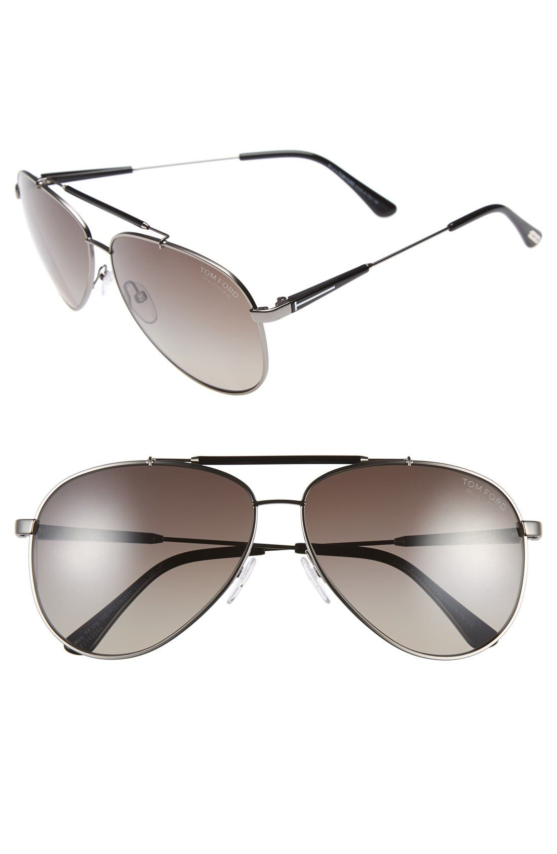 TOM FORD Rick 62mm Polarized Aviator Sunglasses, Main, color, 042
