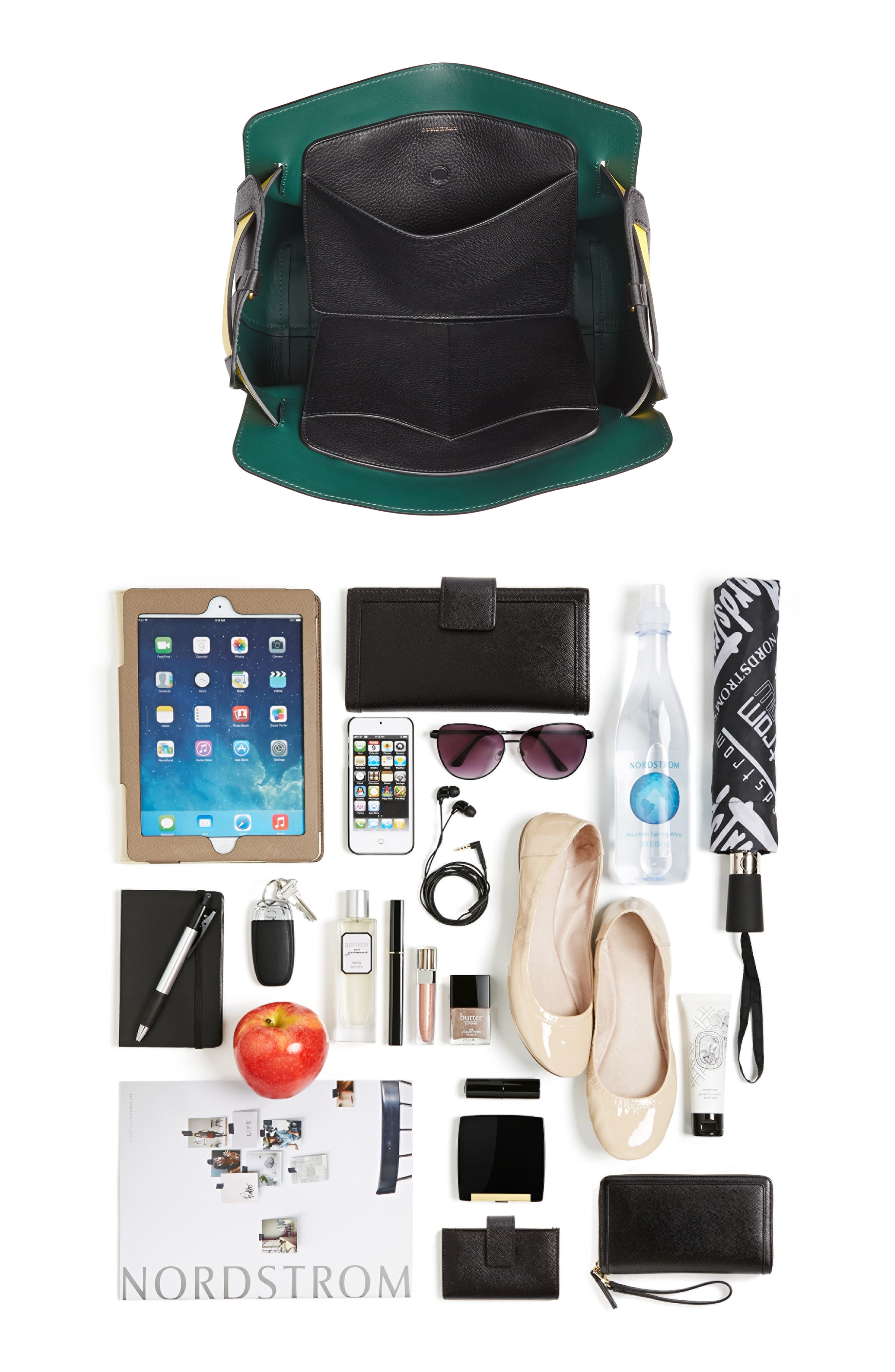 Medium Belt Bag Leather Tote,                             Alternate thumbnail 8, color,                             001