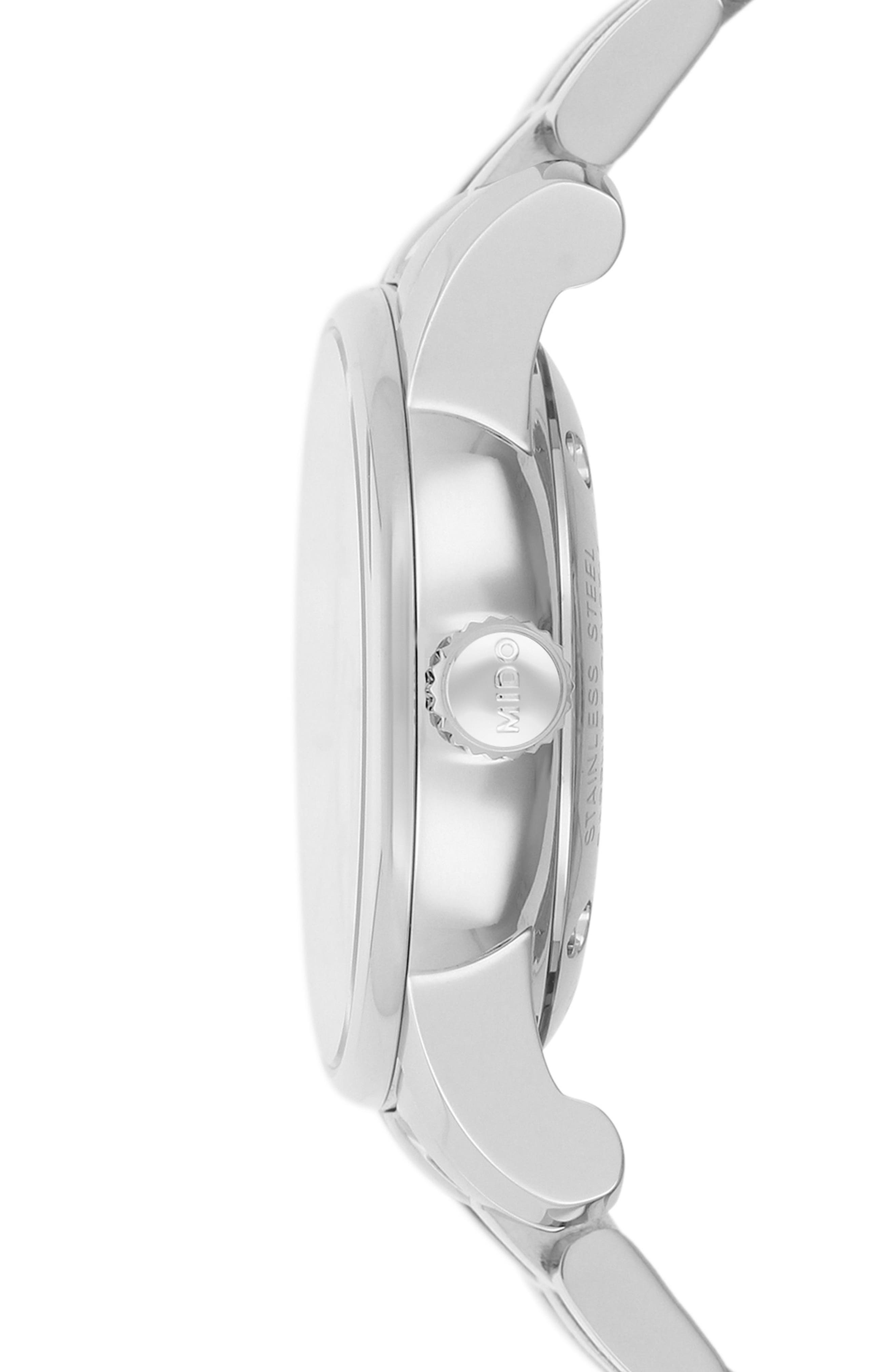 Baroncelli II Automatic Bracelet Watch, 29mm,                             Alternate thumbnail 2, color,                             SILVER/ BLACK/ SILVER