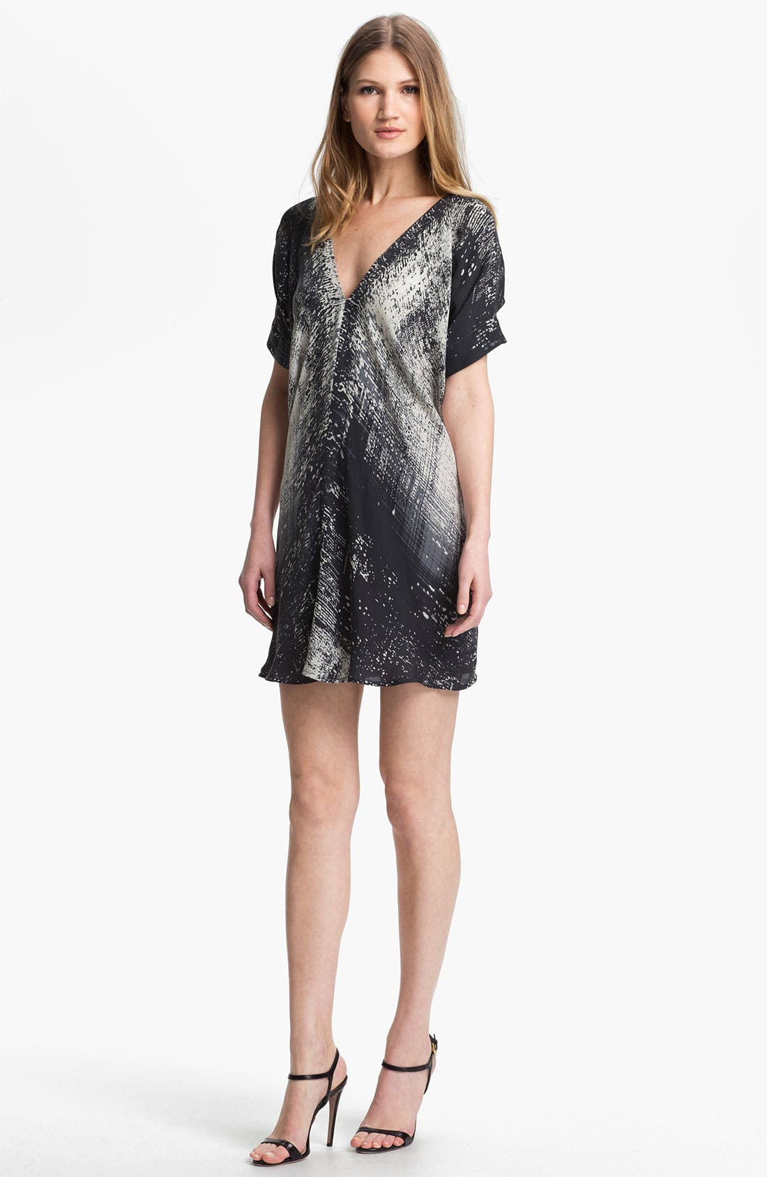 Print Silk Shift Dress,                         Main,                         color, 001