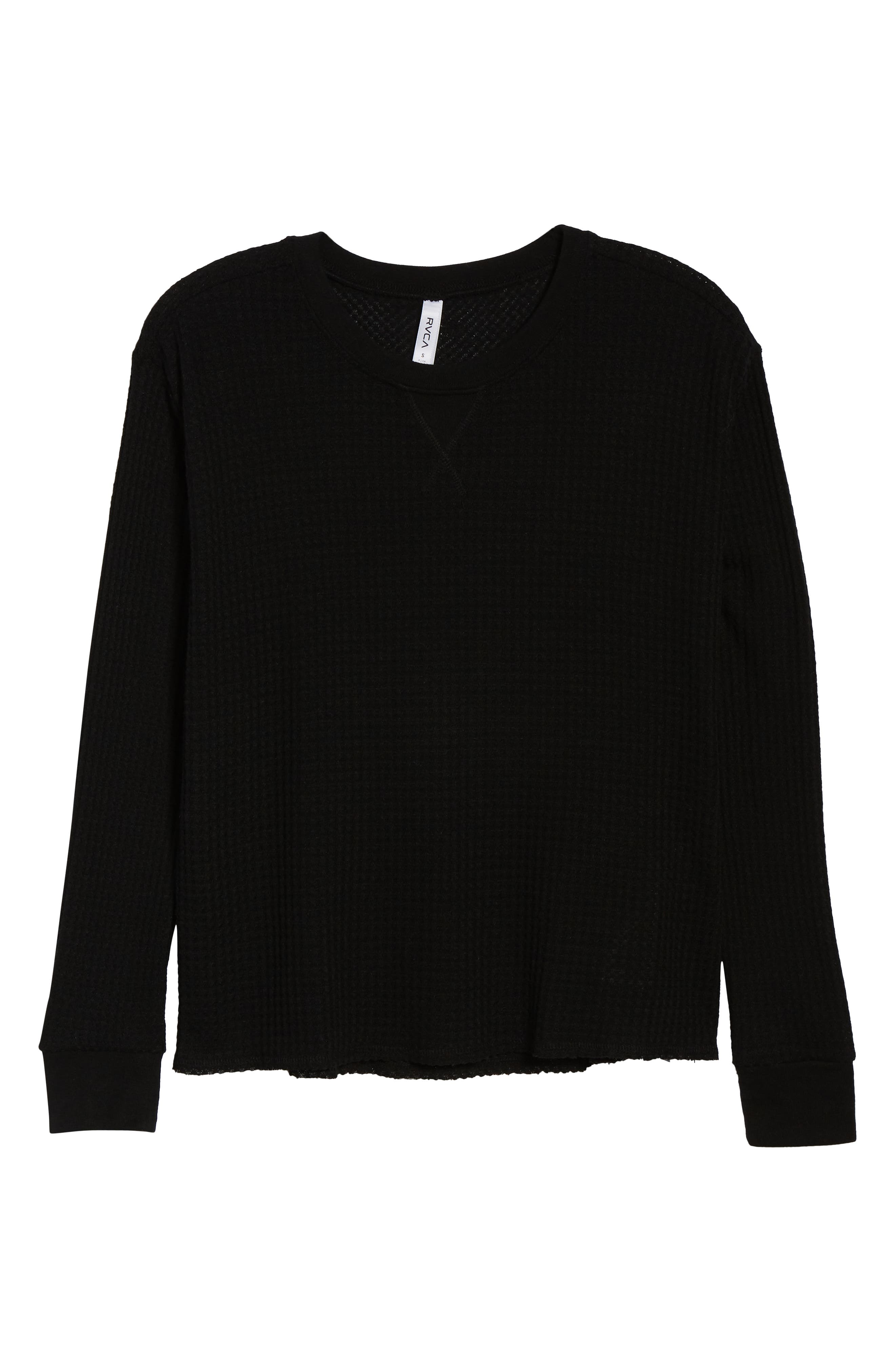 Cited Waffle Knit Pullover Top,                             Alternate thumbnail 6, color,                             001