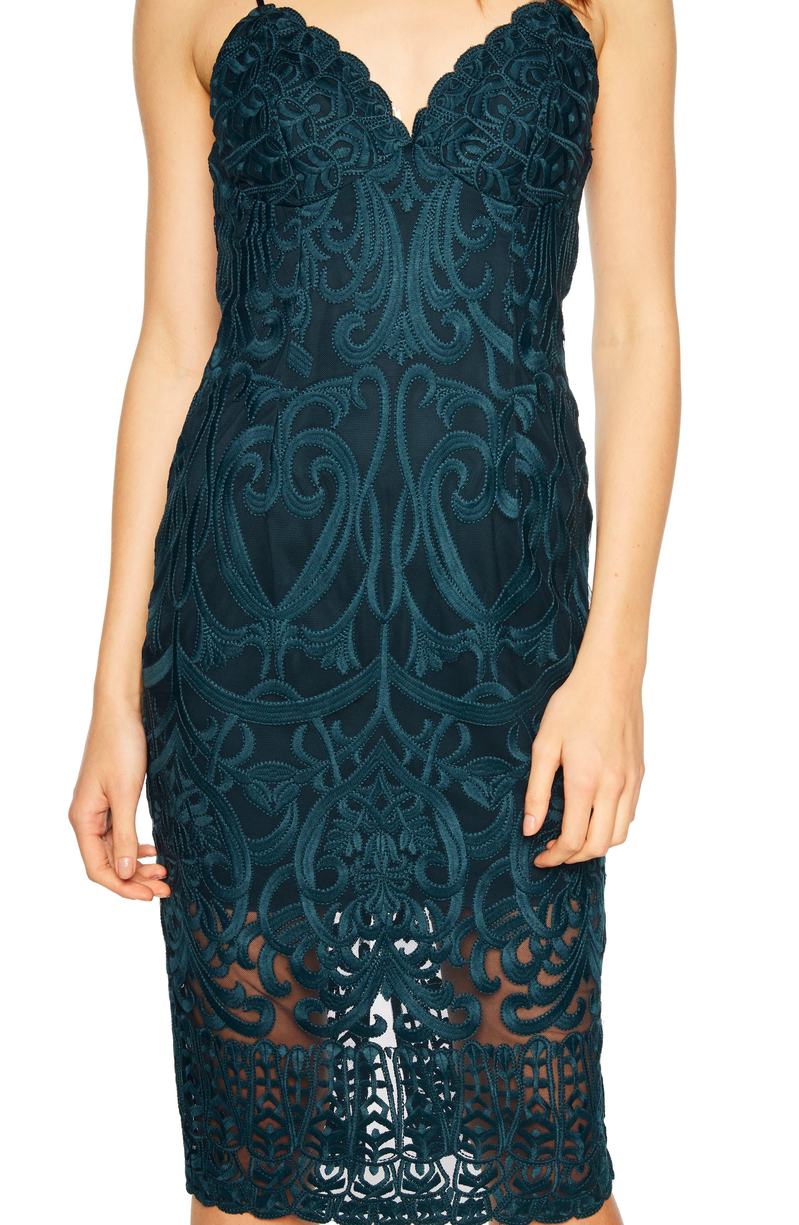 Gia Lace Pencil Dress,                             Alternate thumbnail 4, color,                             ASH BLUE