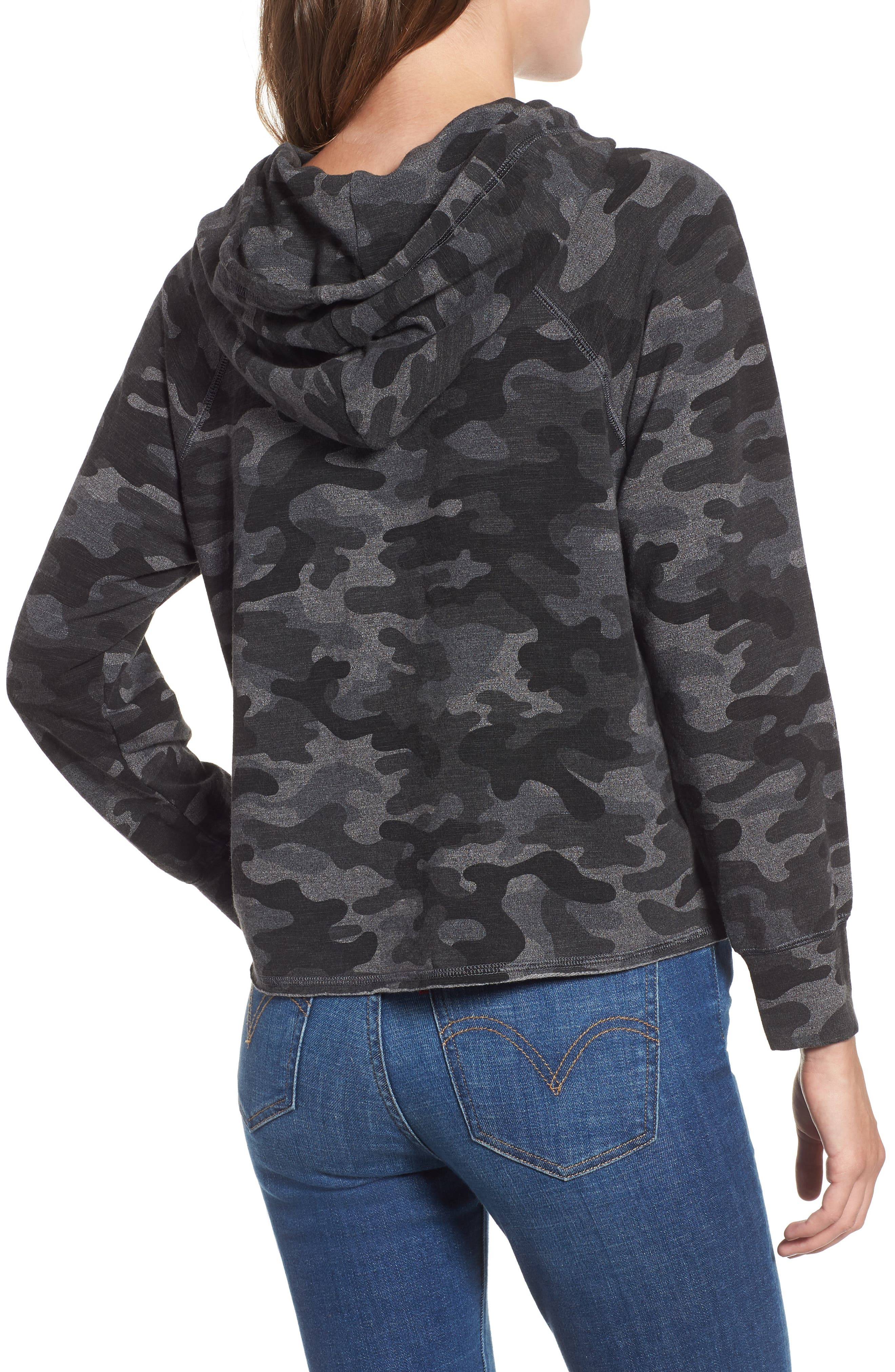 Camo Crop Hoodie,                             Alternate thumbnail 2, color,                             CHARCOAL