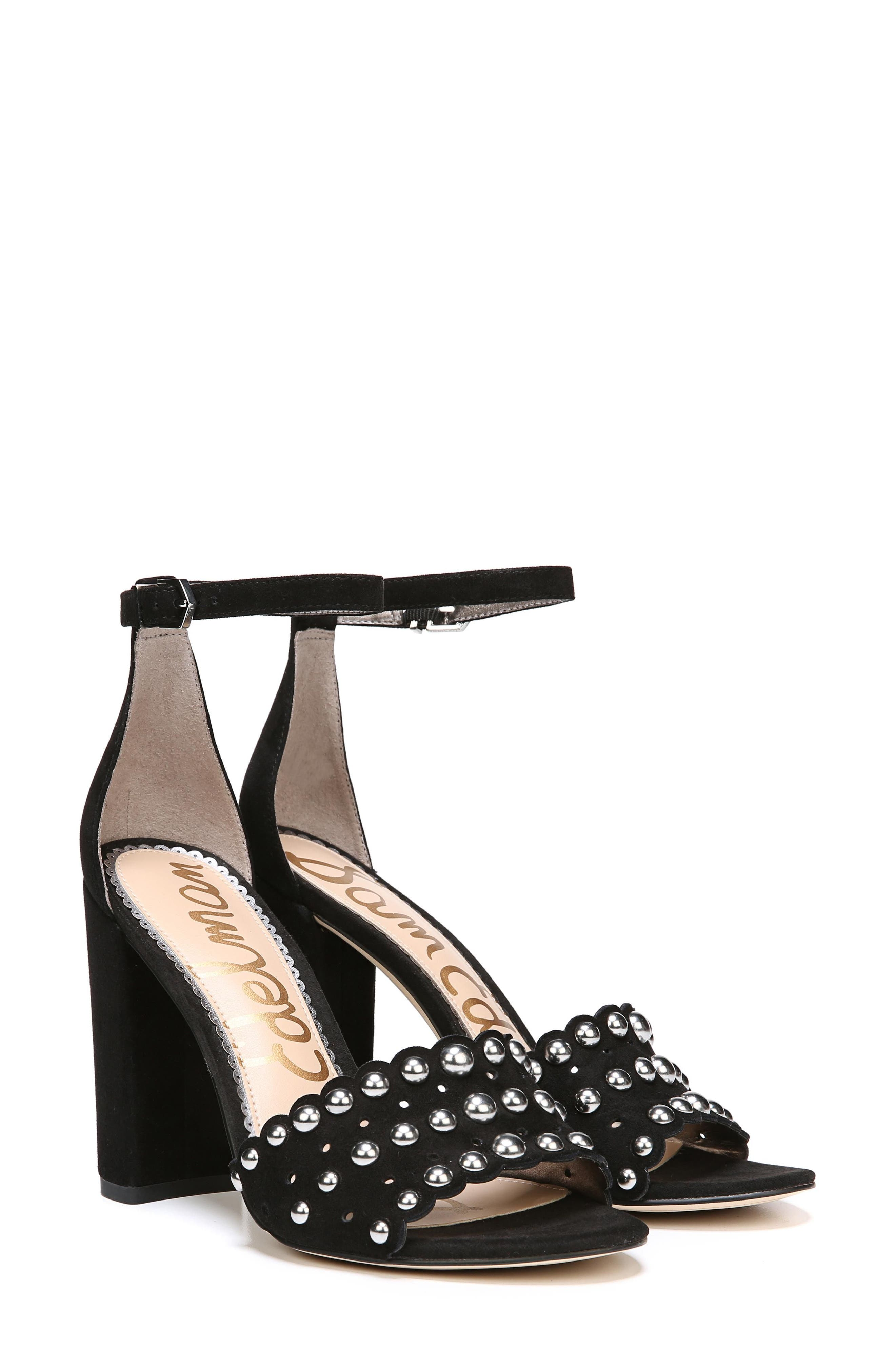 Yaria Studded Block Heel Sandal,                             Main thumbnail 1, color,                             BLACK SUEDE
