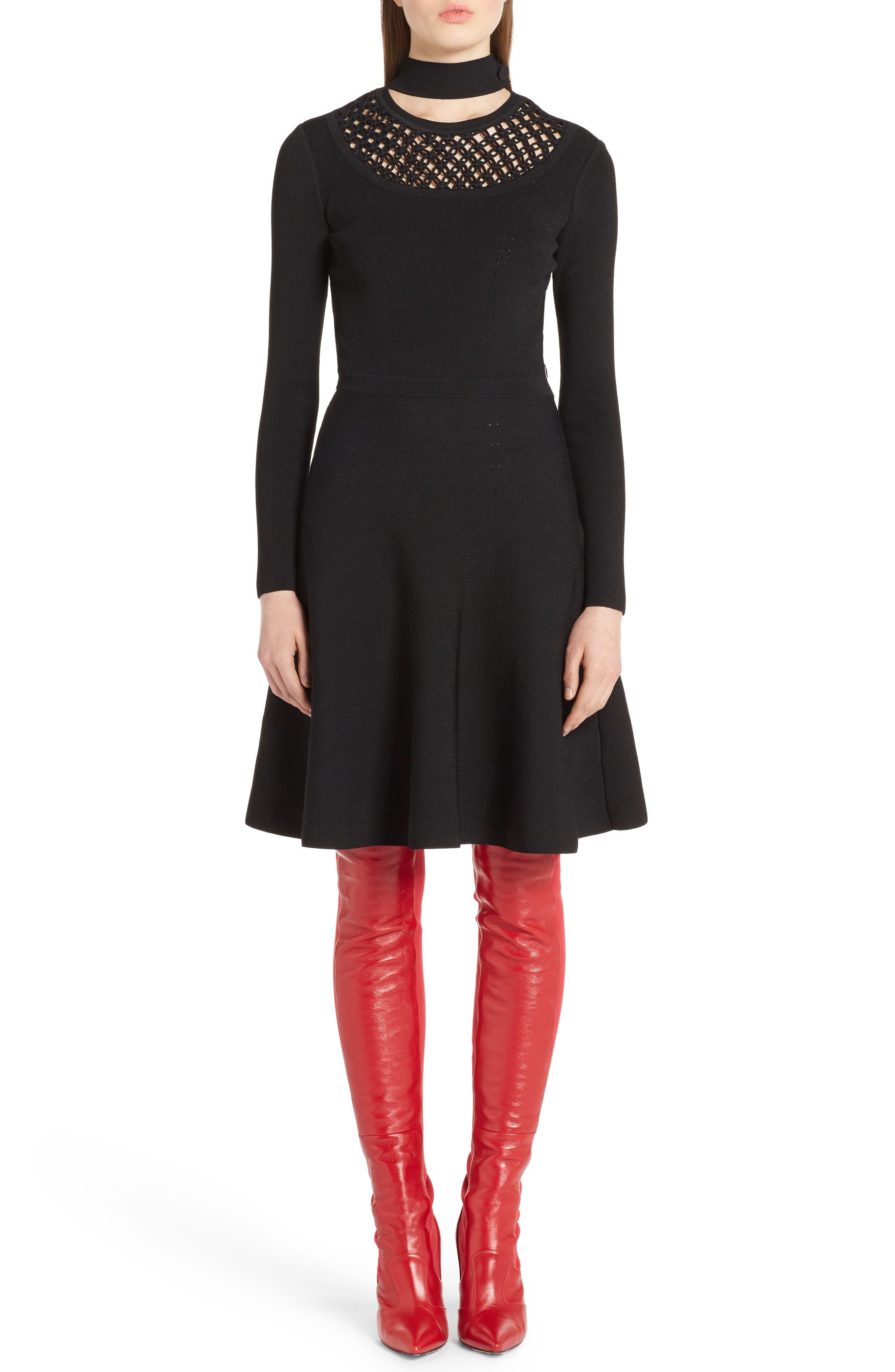 Macramé Inset Knit Dress,                             Main thumbnail 1, color,                             001