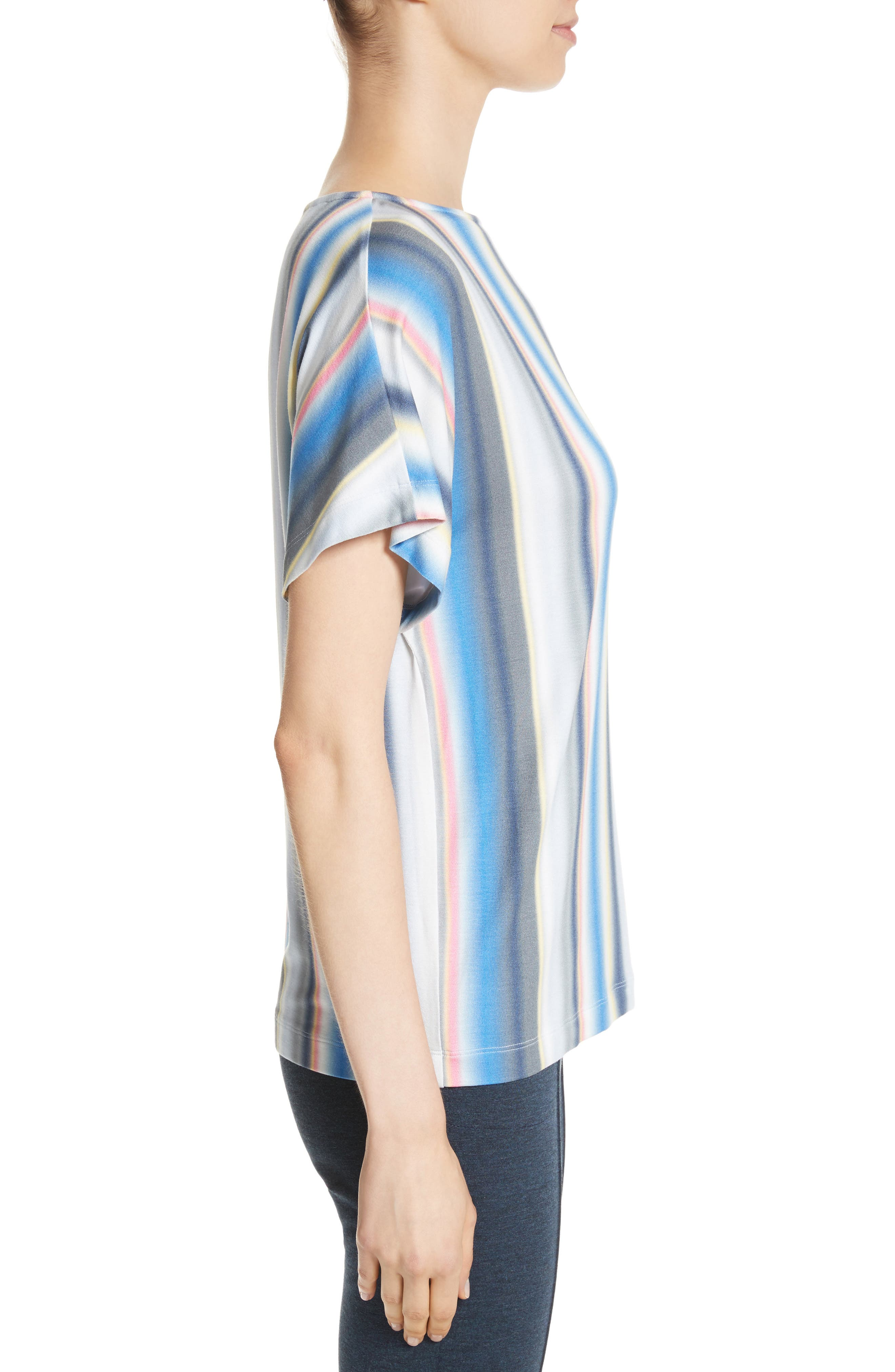 Blurred Stripe Jersey Top,                             Alternate thumbnail 3, color,                             420