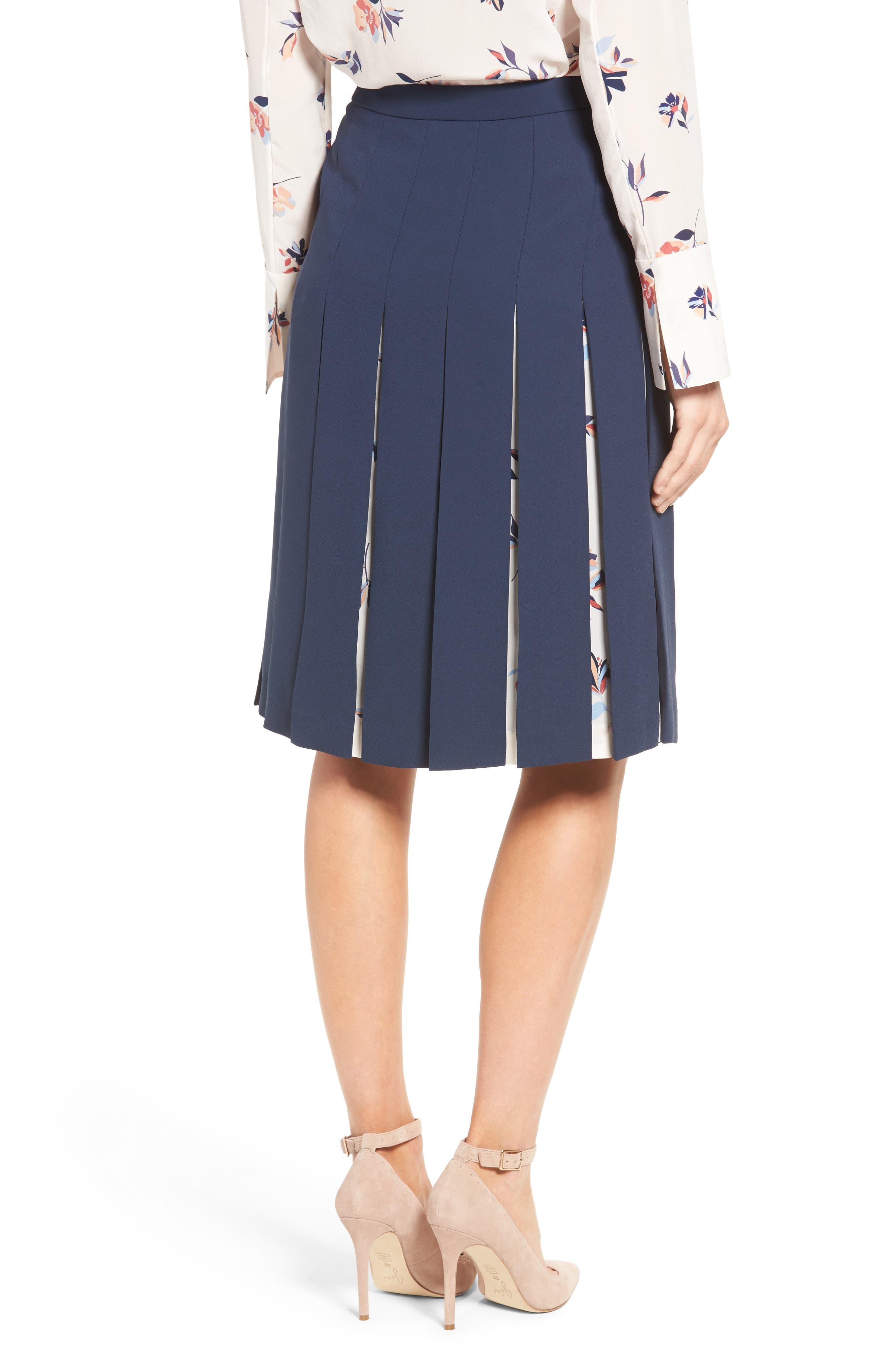 Print Mix Pleated Skirt,                             Alternate thumbnail 2, color,                             410