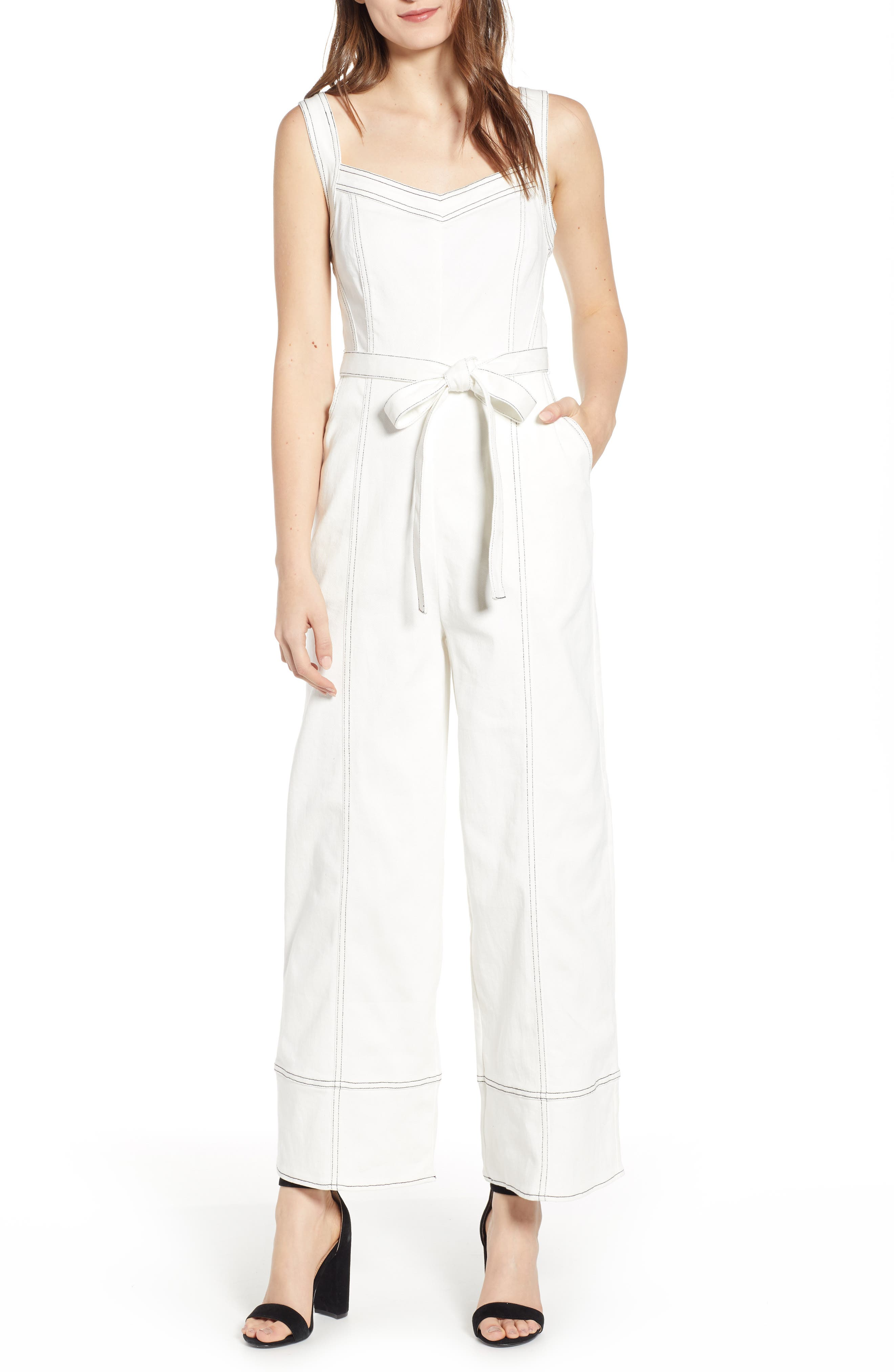 Moya Topstitch Detail Jumpsuit,                             Main thumbnail 1, color,                             WHITE