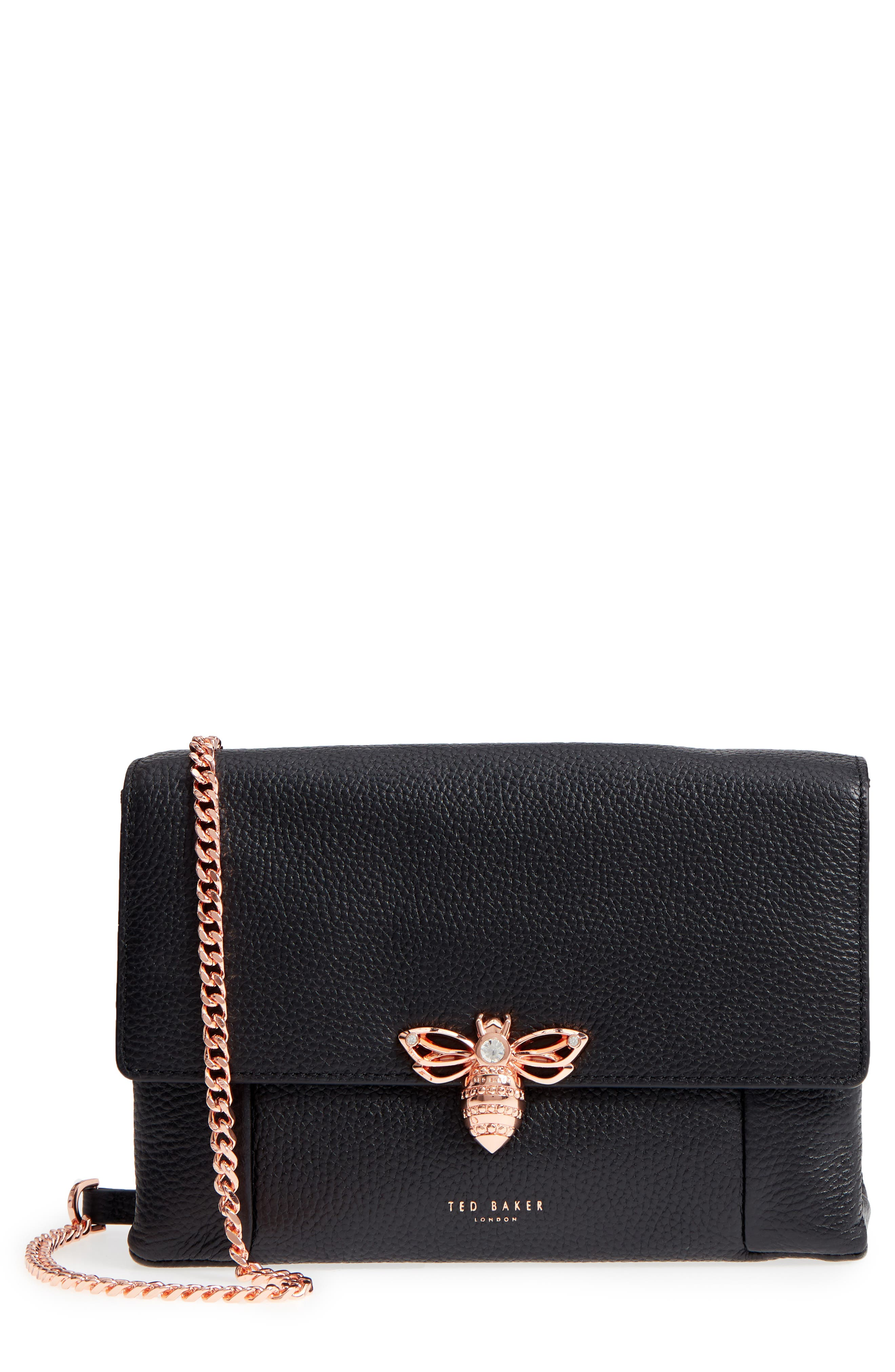 TED BAKER LONDON,                             Zzlee Bee Embellished Crossbody Bag,                             Main thumbnail 1, color,                             001