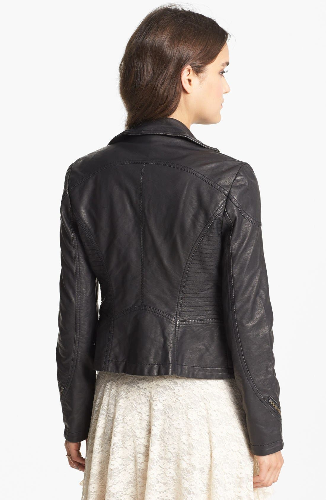 Distressed Faux Leather Moto Jacket,                             Alternate thumbnail 3, color,                             001