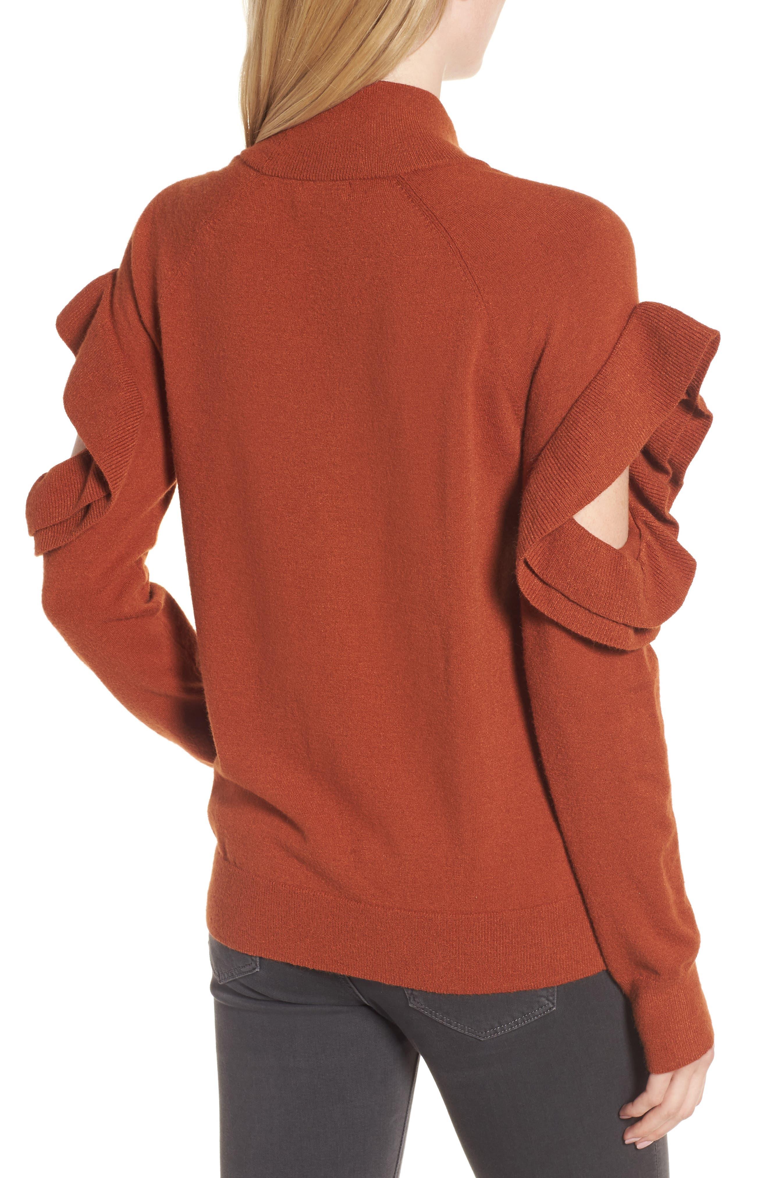 Ruffle Sleeve Sweater,                             Alternate thumbnail 5, color,