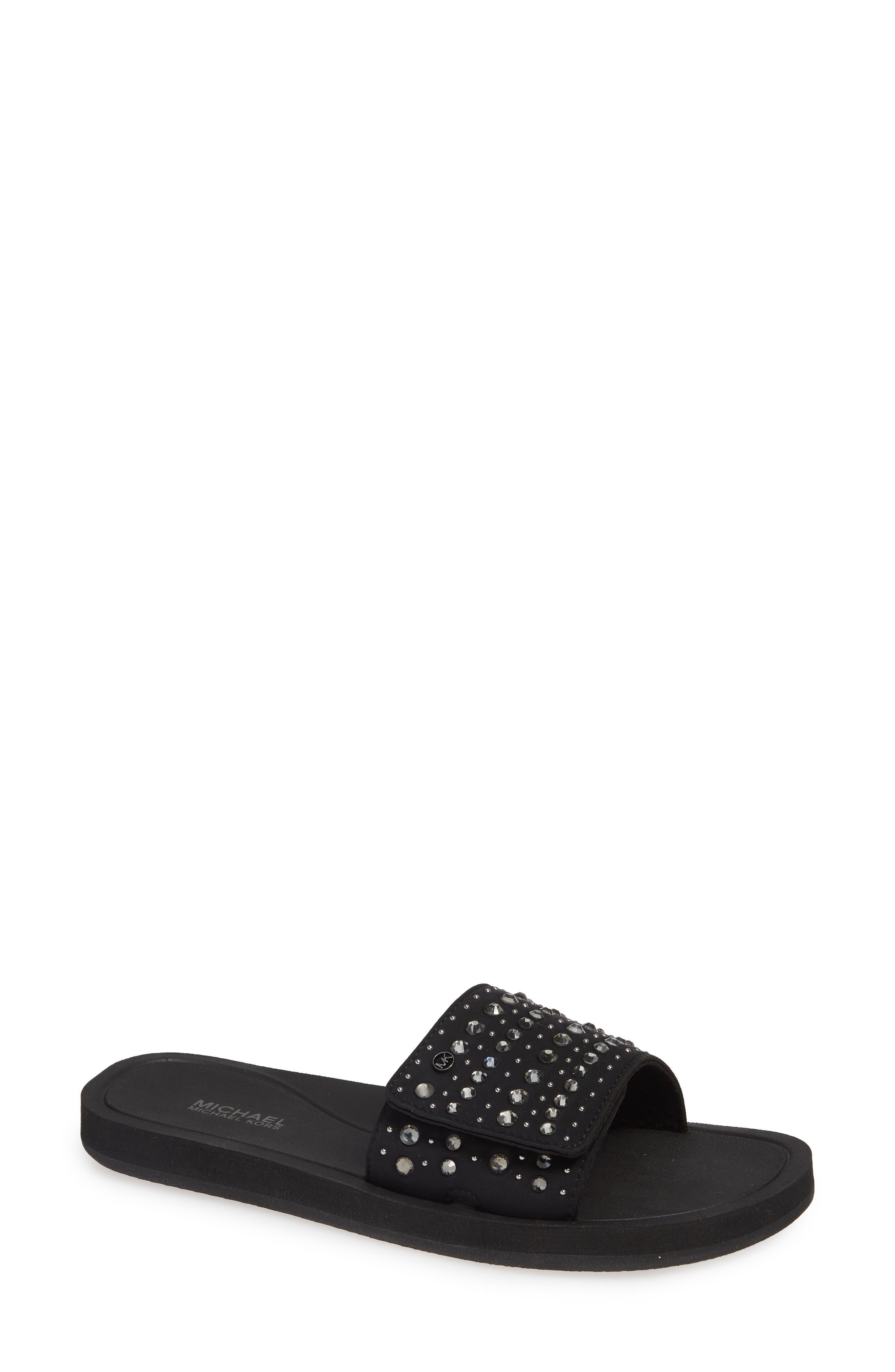 Mk Crystal Pool Slide Sandals in Black