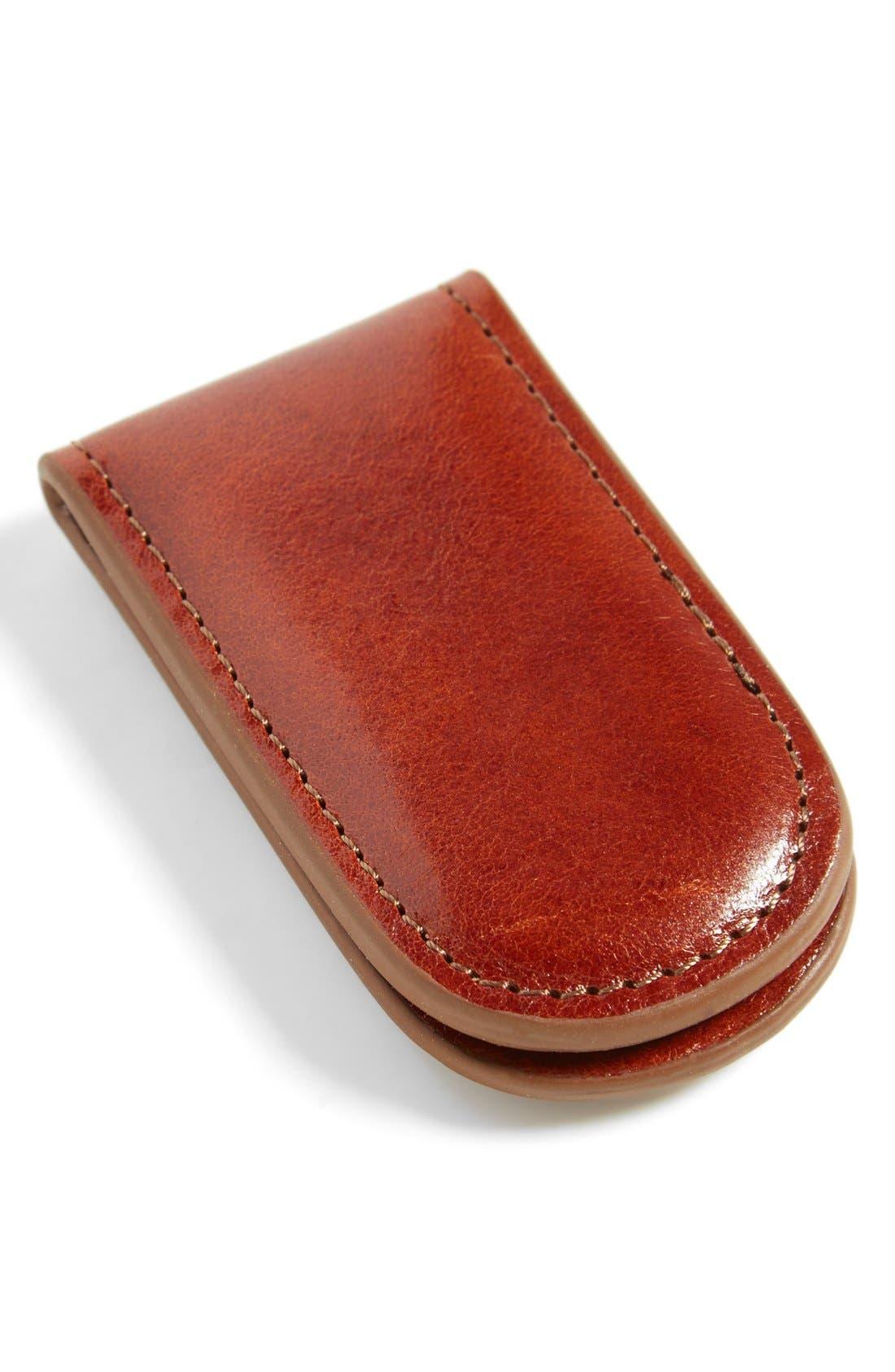 Leather Money Clip,                             Main thumbnail 1, color,