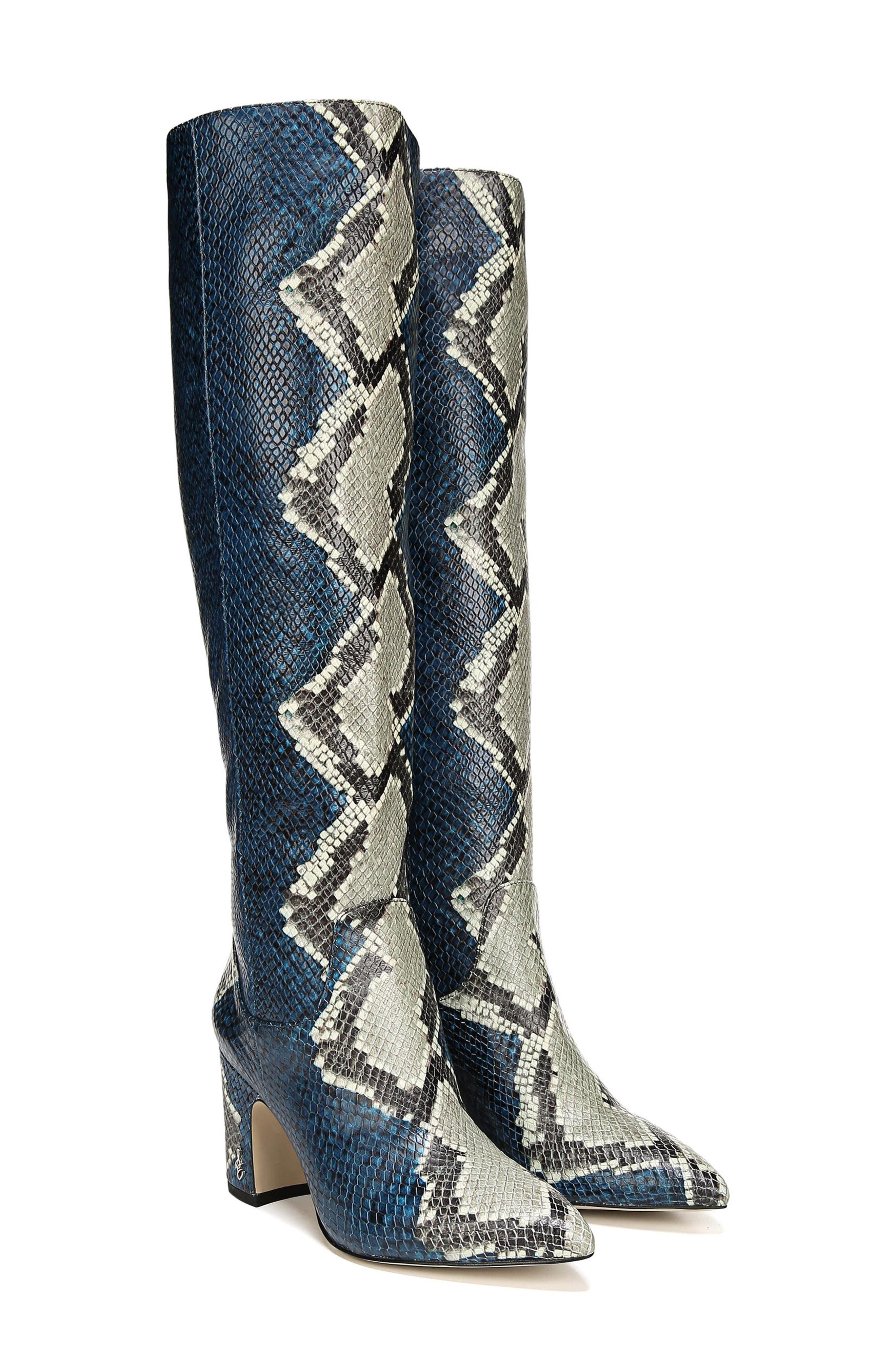 Hai Knee High Boot,                             Alternate thumbnail 8, color,                             PEACOCK EMBOSSED LEATHER