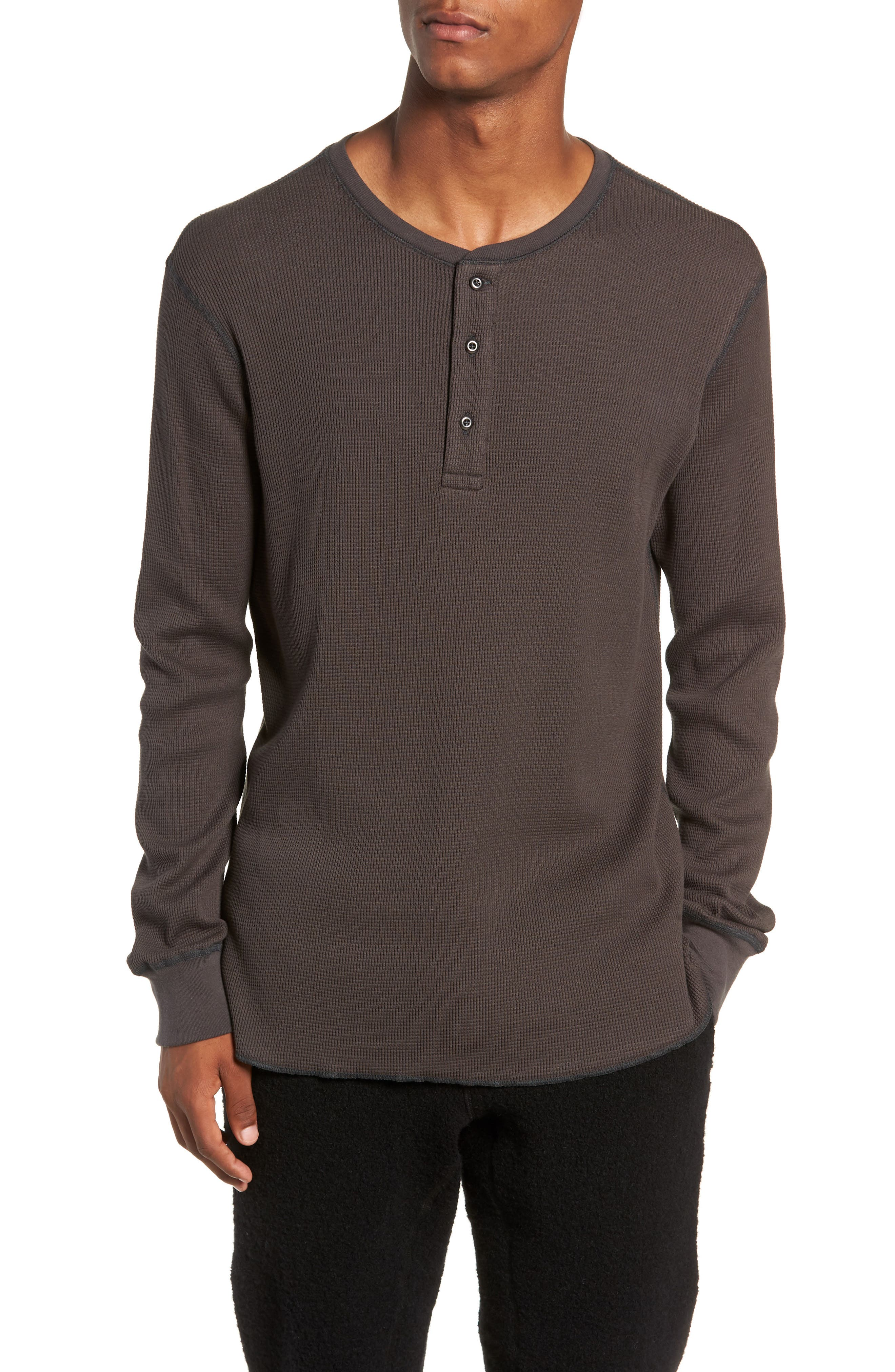 WINGS + HORNS Long Sleeve Thermal Henley, Main, color, STONE