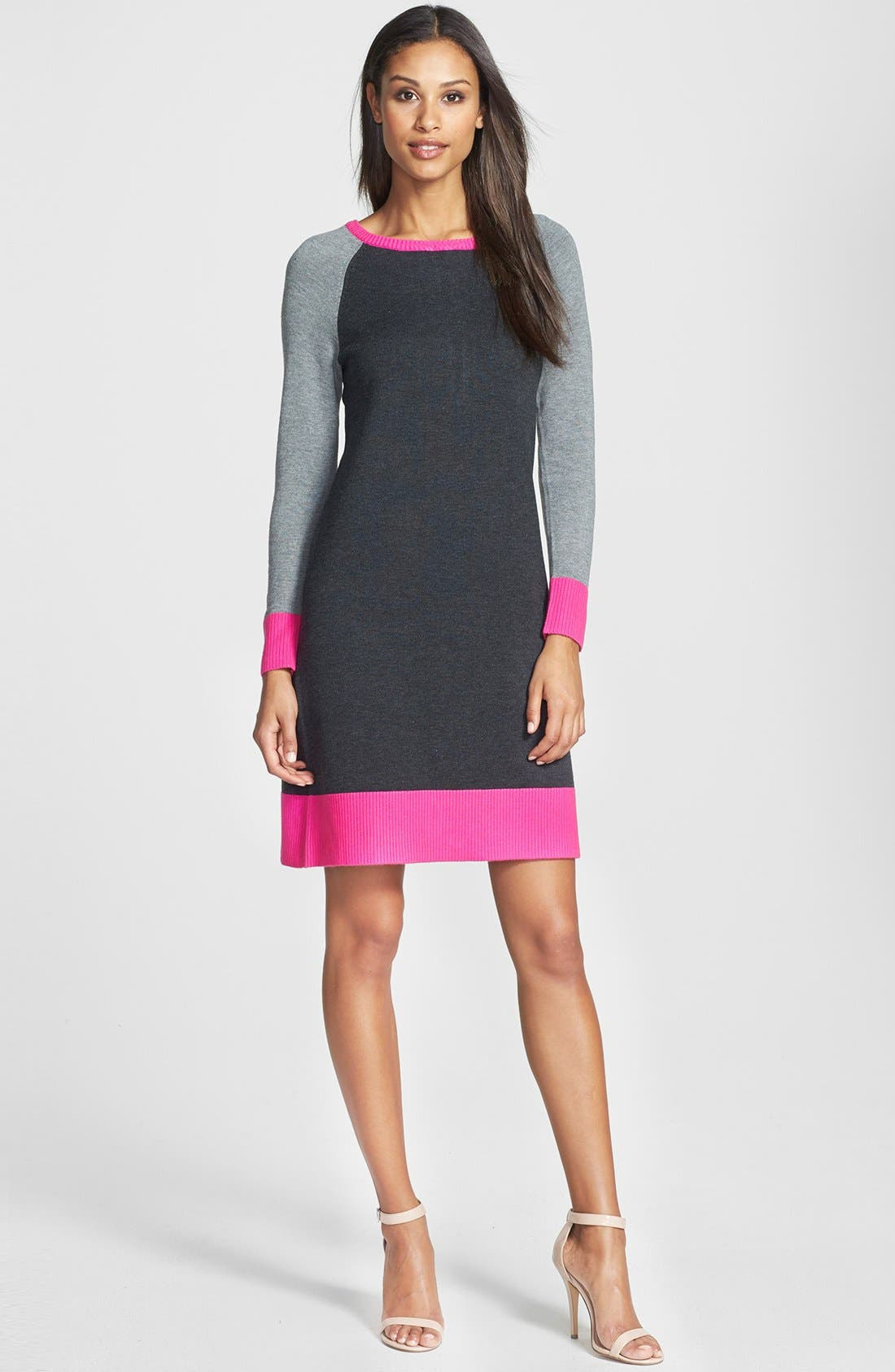 Colorblock Shift Sweater Dress, Main, color, 650