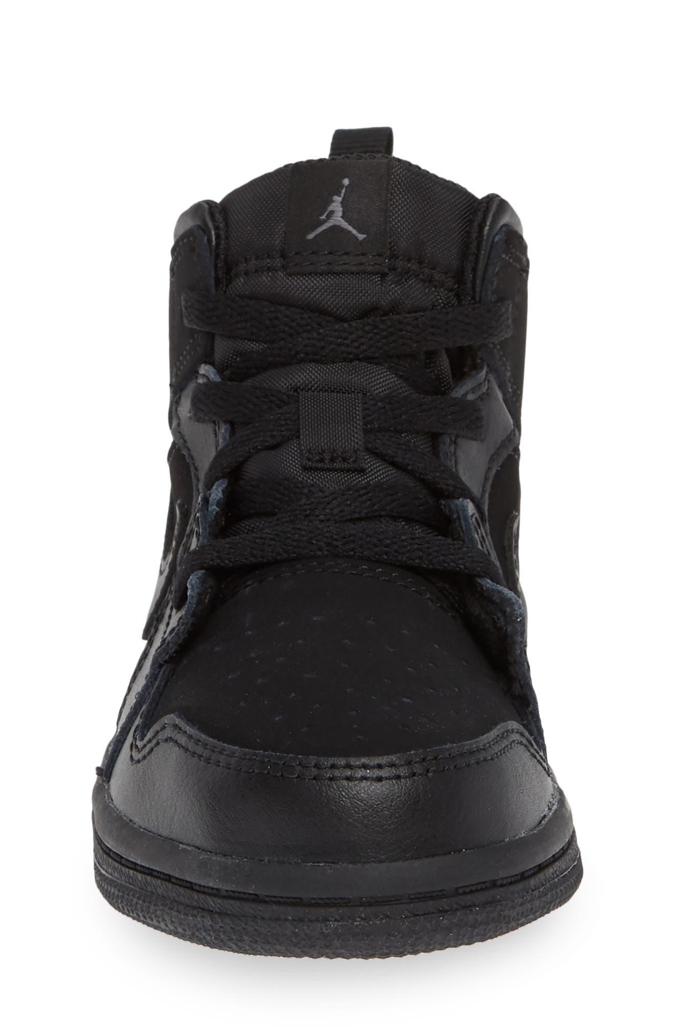 Nike 'Air Jordan 1 Mid' Sneaker,                             Alternate thumbnail 4, color,                             BLACK/ DARK GREY/ BLACK
