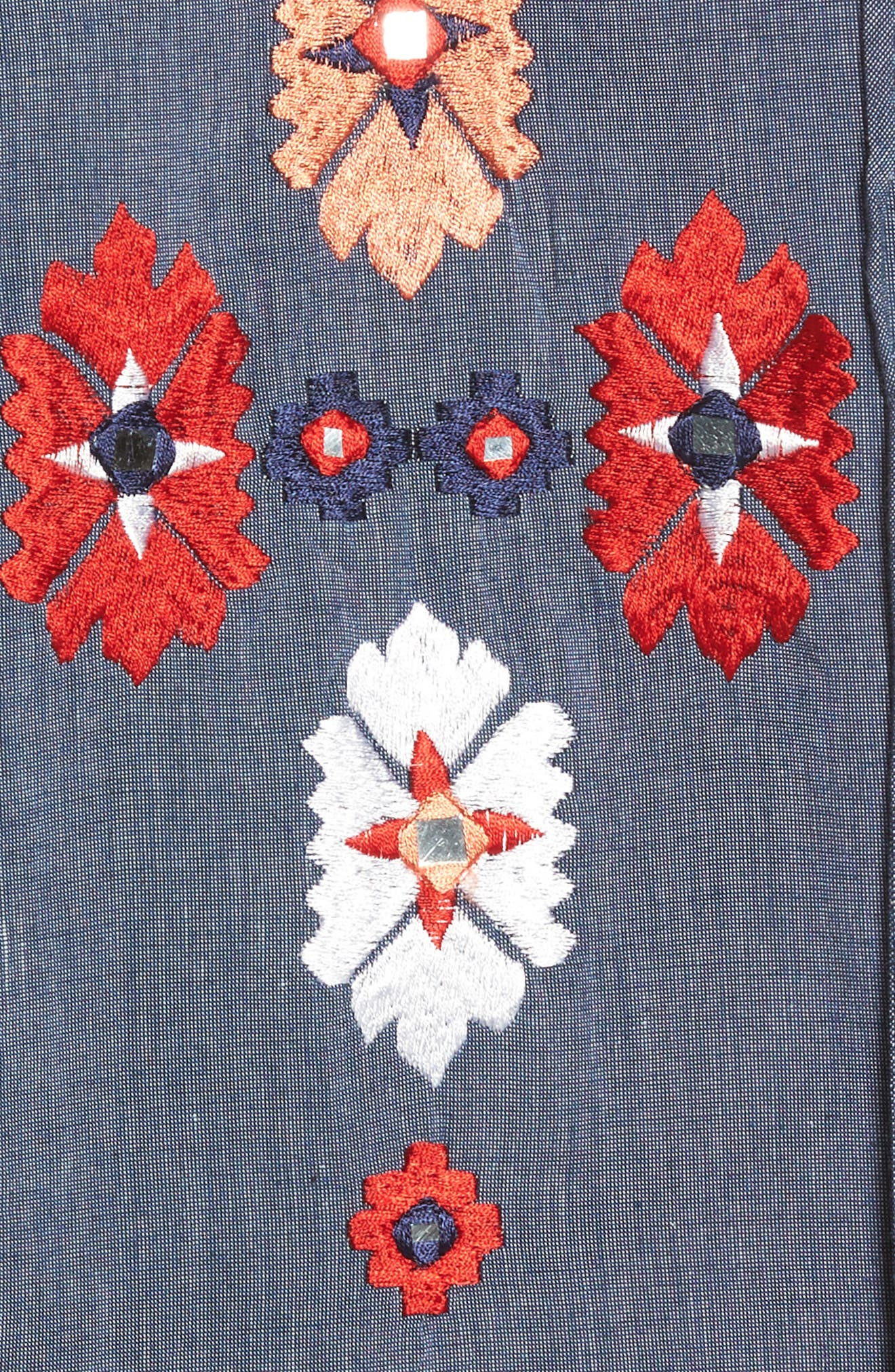Elora Embroidered Chambray Top,                             Alternate thumbnail 5, color,                             DENIM