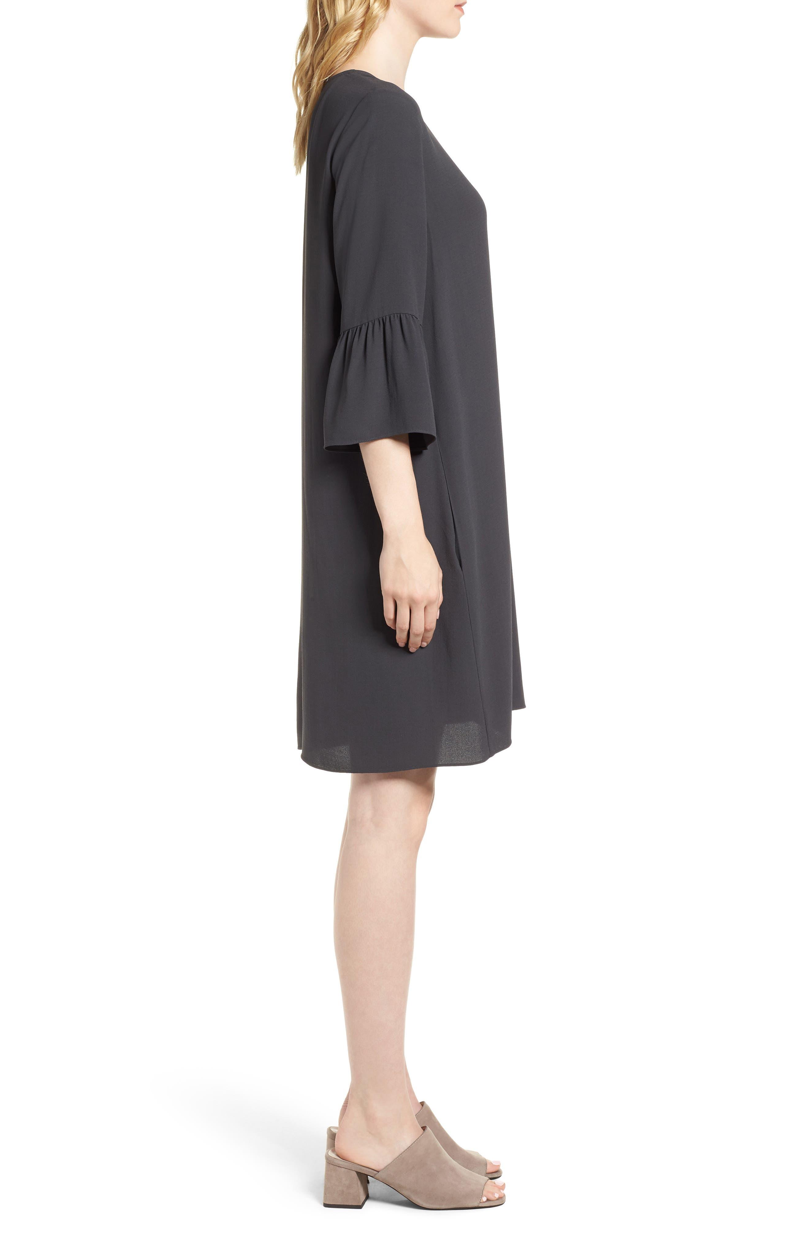 Flare Sleeve Silk Dress,                             Alternate thumbnail 3, color,                             025