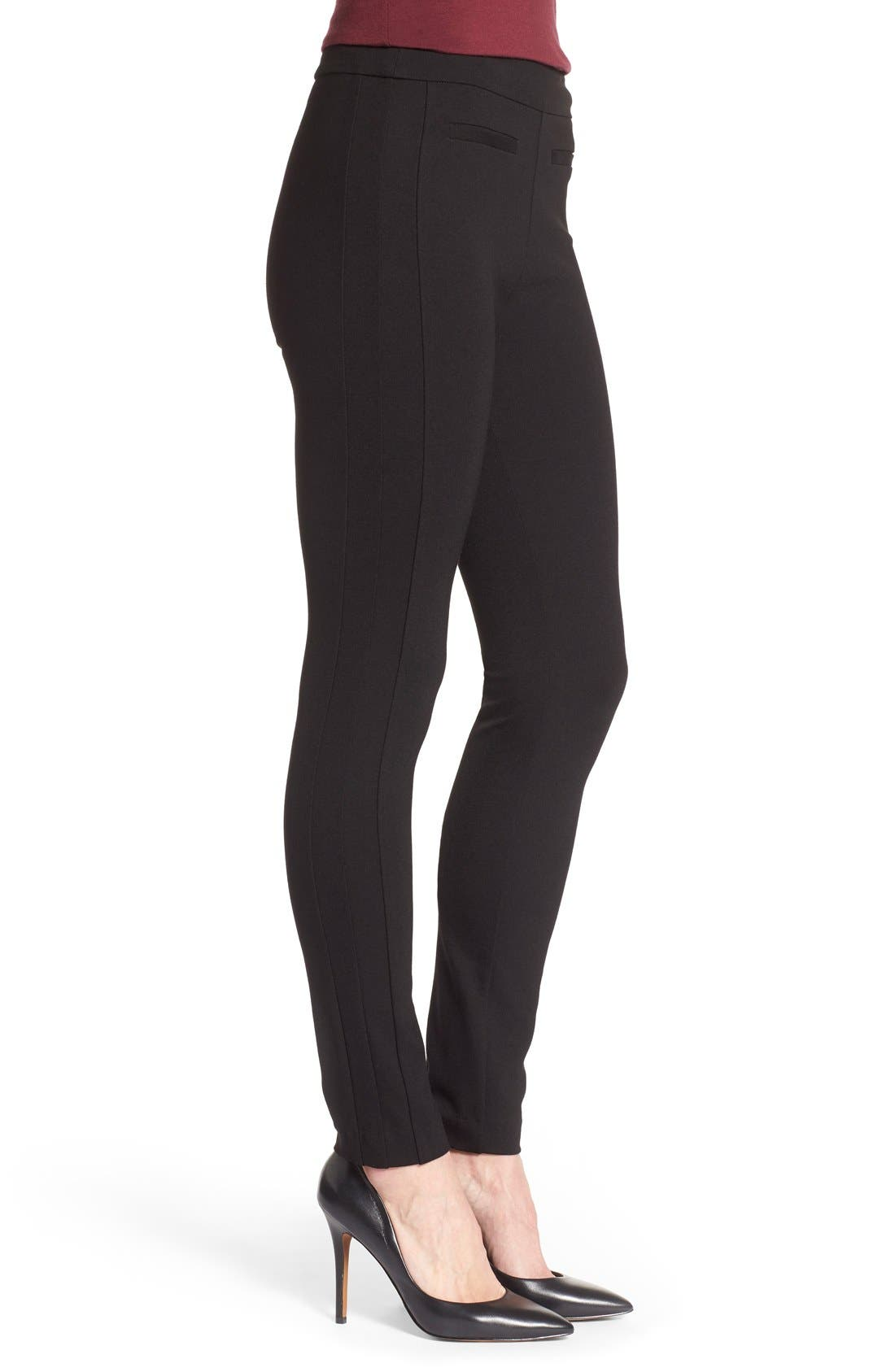 'Tower' Side Zip Ponte Skinny Pants,                             Alternate thumbnail 3, color,                             001