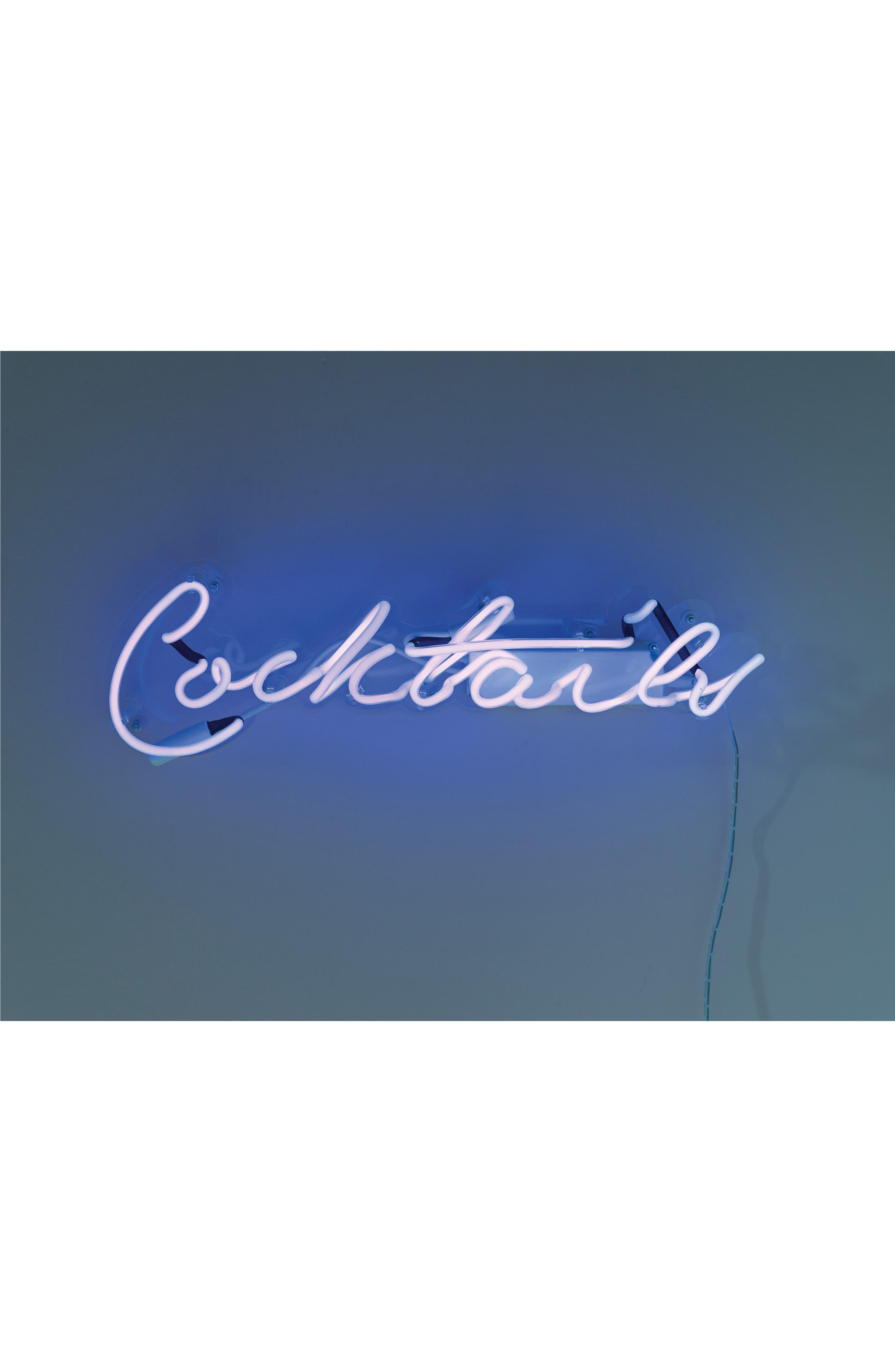 Cocktails Neon Light Wall Art,                             Main thumbnail 1, color,                             400