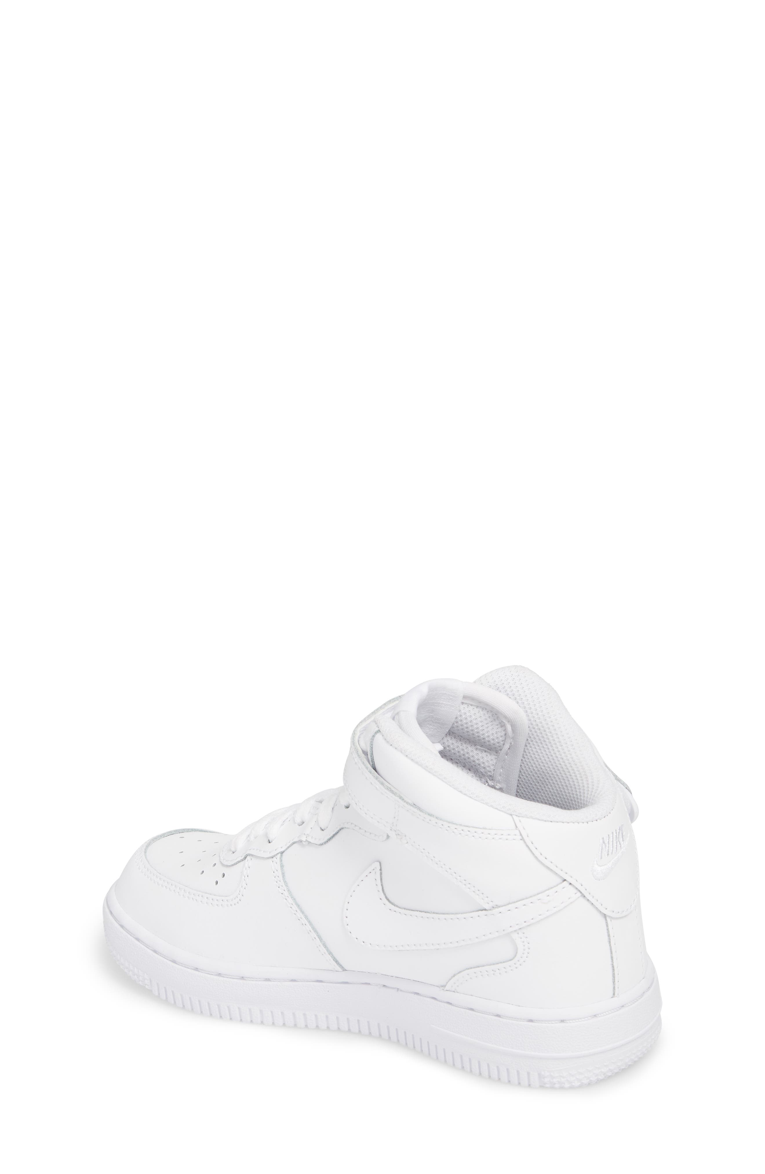 NIKE,                             Air Force 1 Mid Sneaker,                             Alternate thumbnail 2, color,                             WHITE/ WHITE