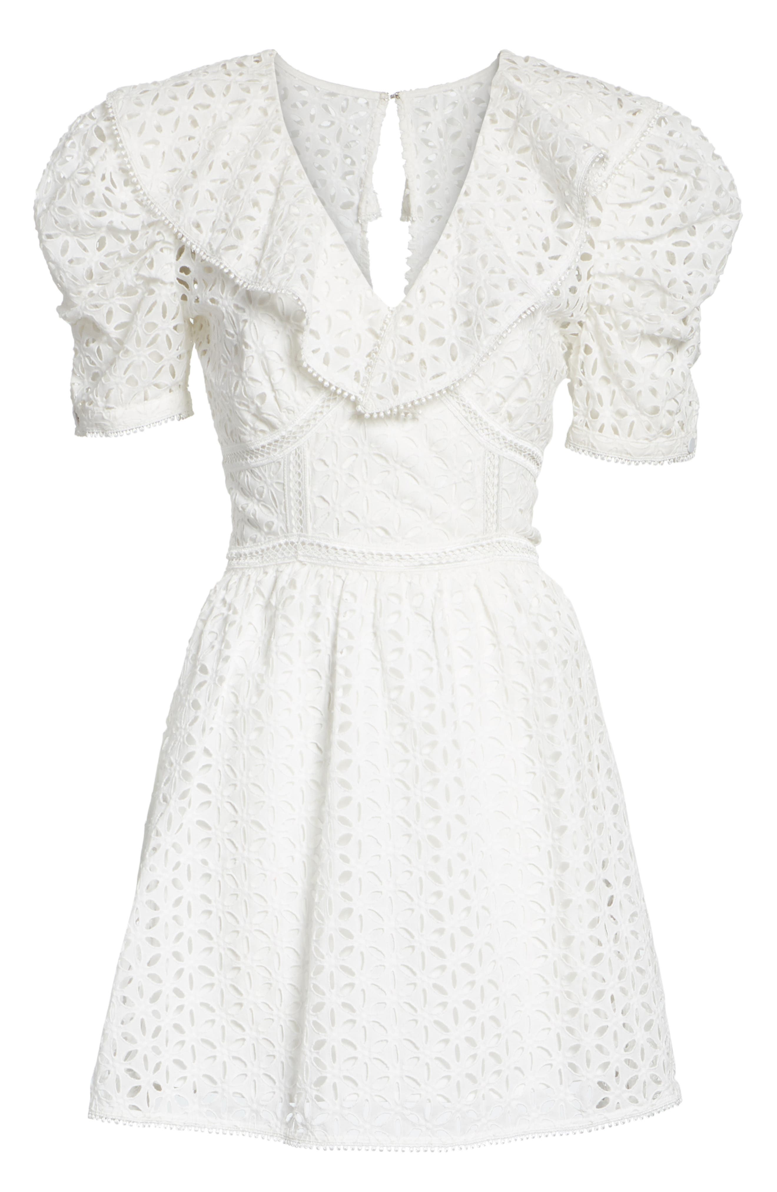 Puff Shoulder Broderie Anglaise Dress,                             Alternate thumbnail 6, color,                             100