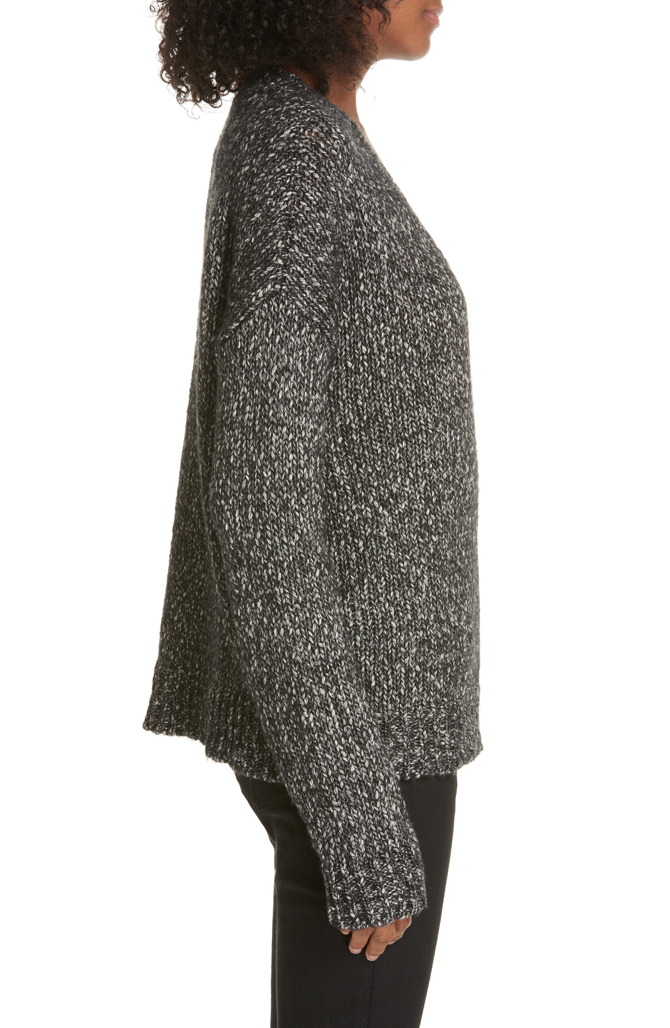Parkland Slouchy Cotton & Wool Sweater,                             Alternate thumbnail 3, color,                             LEAD MELANGE