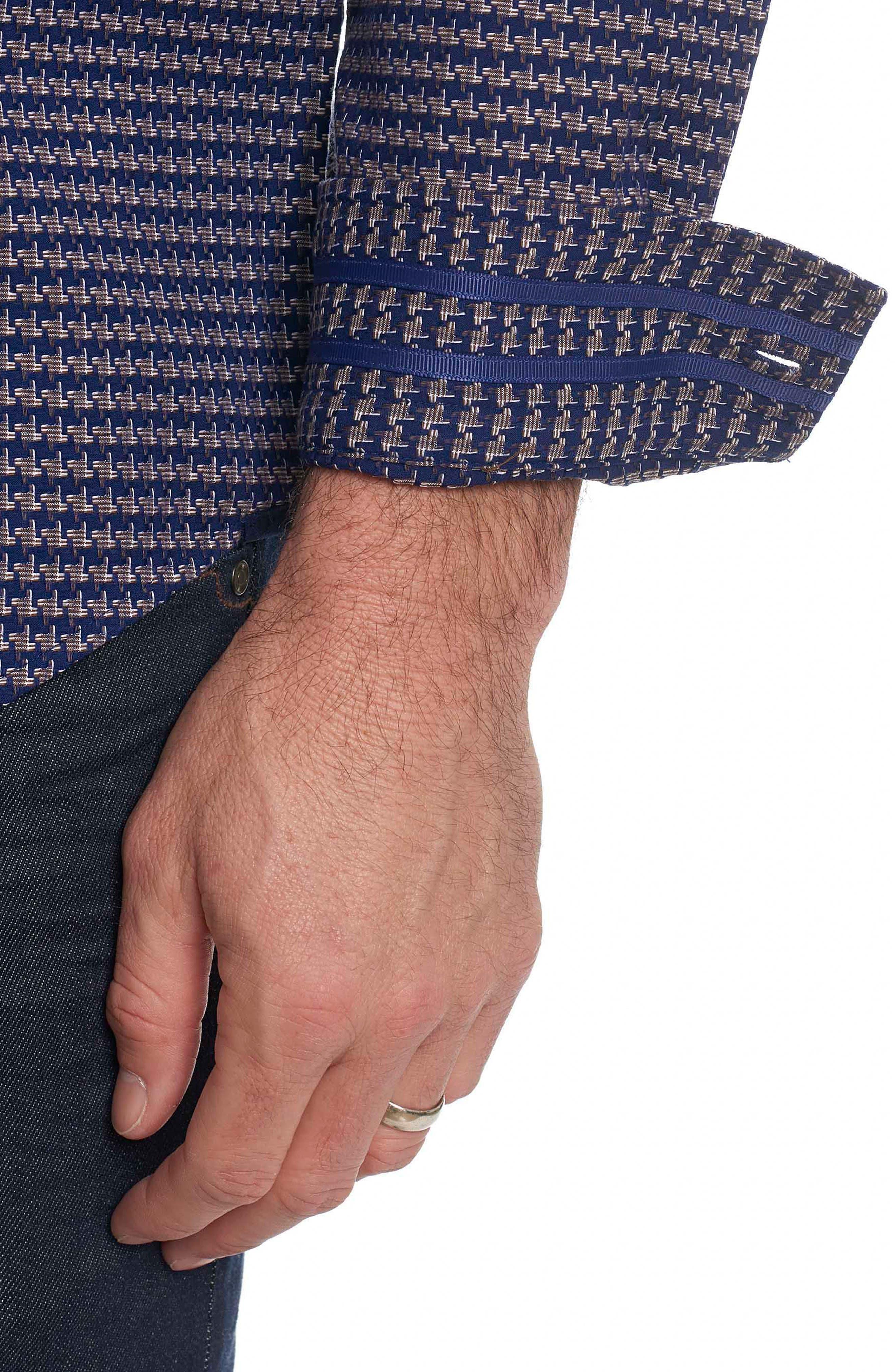 Landen Tailored Fit Print Sport Shirt,                             Alternate thumbnail 9, color,