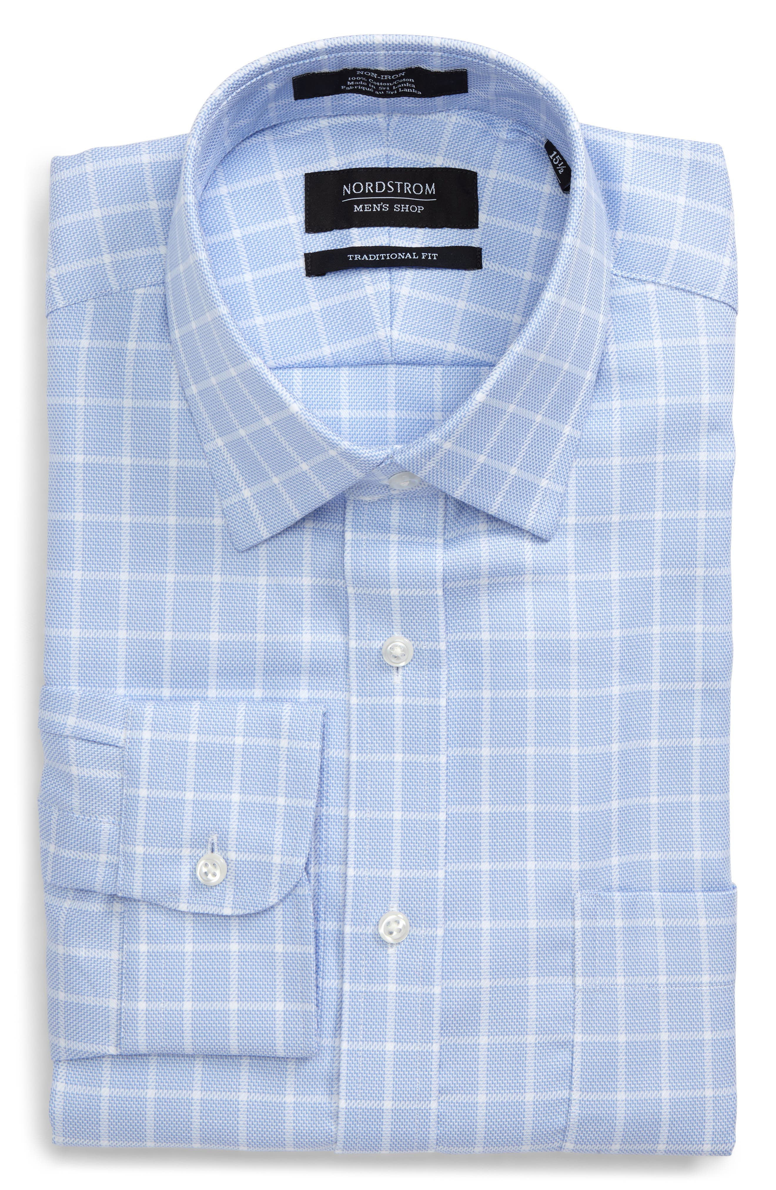 Traditional Fit Non-Iron Check Dress Shirt,                             Alternate thumbnail 8, color,