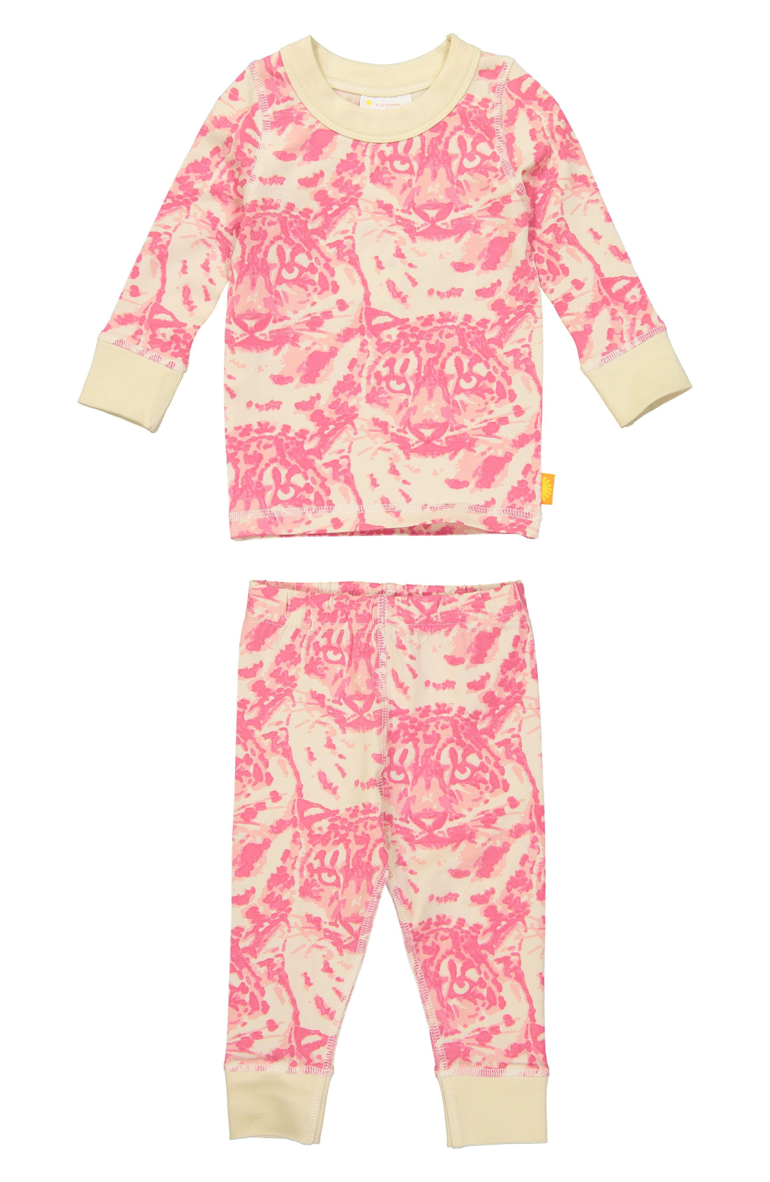 Infant Girls Masala Baby Cat Camo Organic Cotton Fitted TwoPiece Pajamas Size 612M  Pink